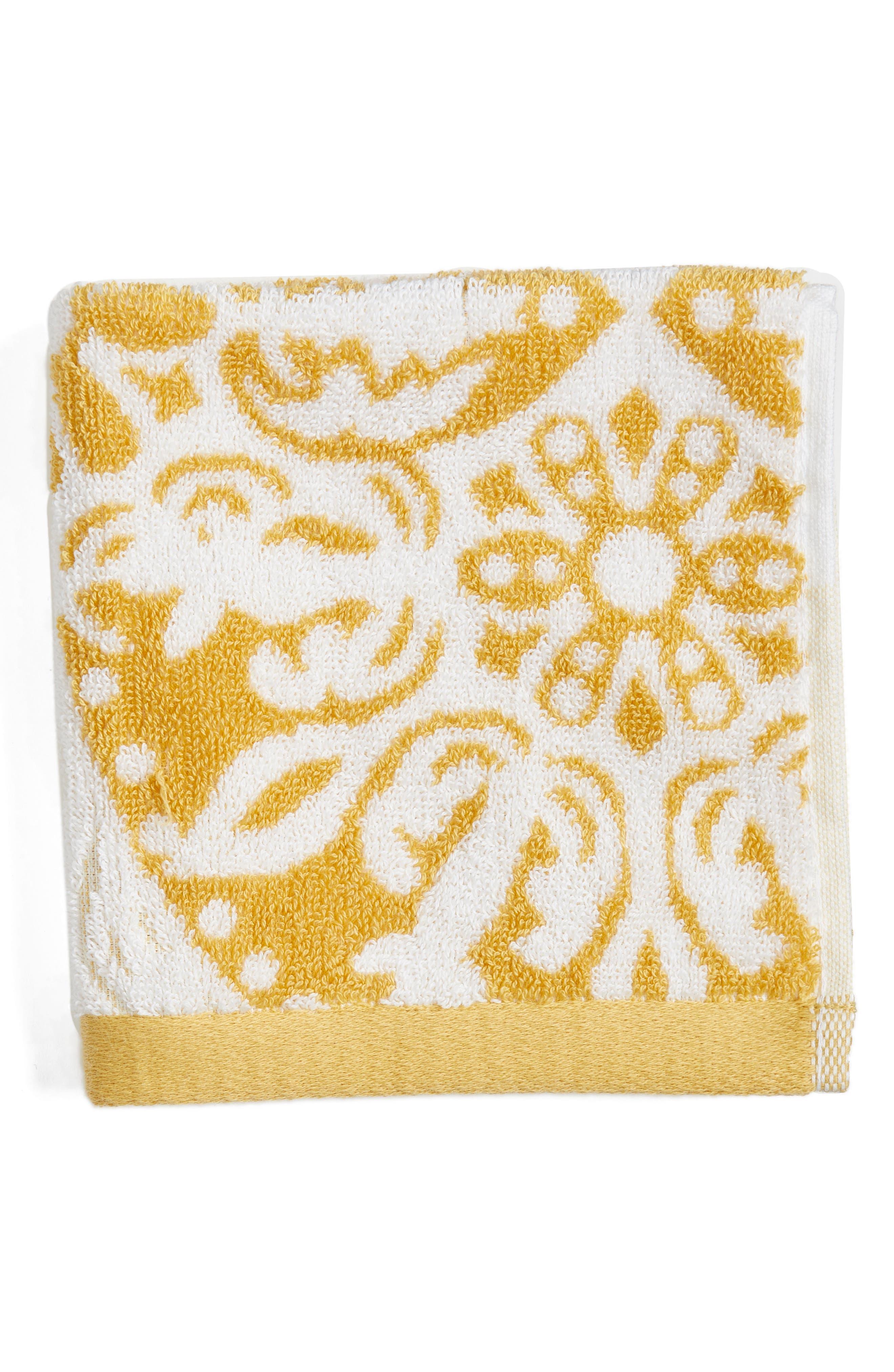 Fan Ombré Washcloth,                             Main thumbnail 1, color,                             Yellow Leaf