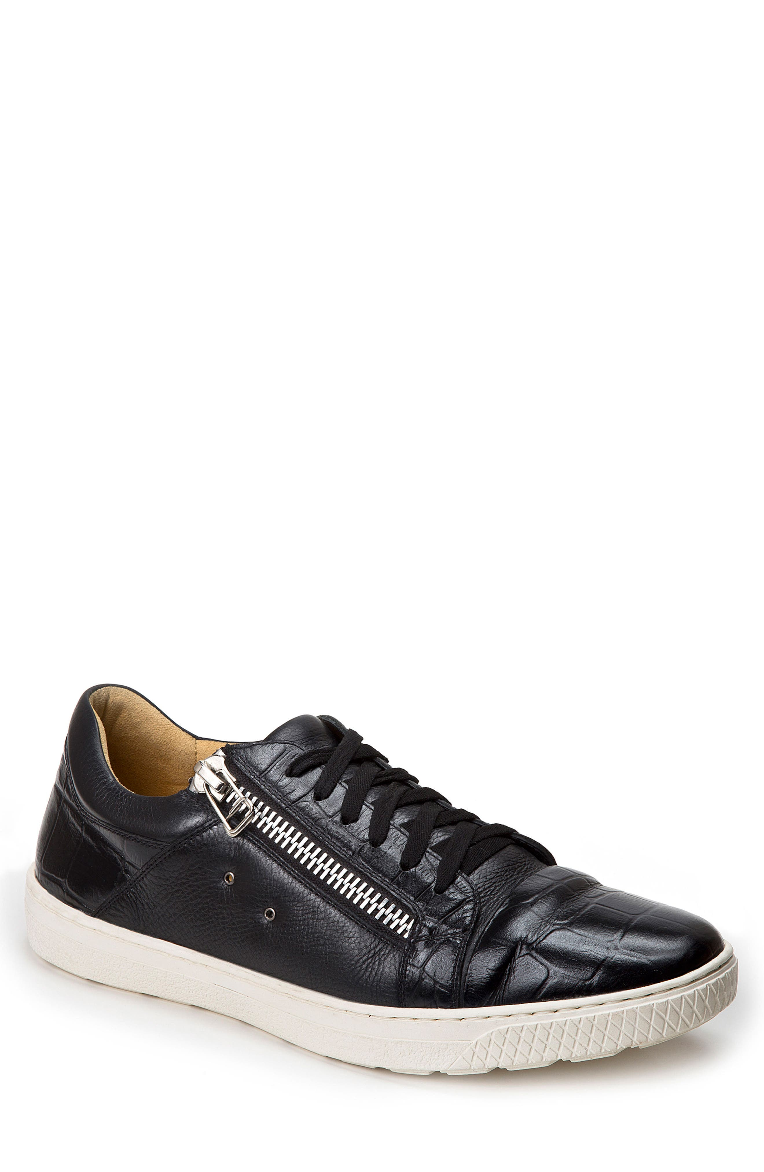 Cassius Side Zip Sneaker,                         Main,                         color, Black Leather