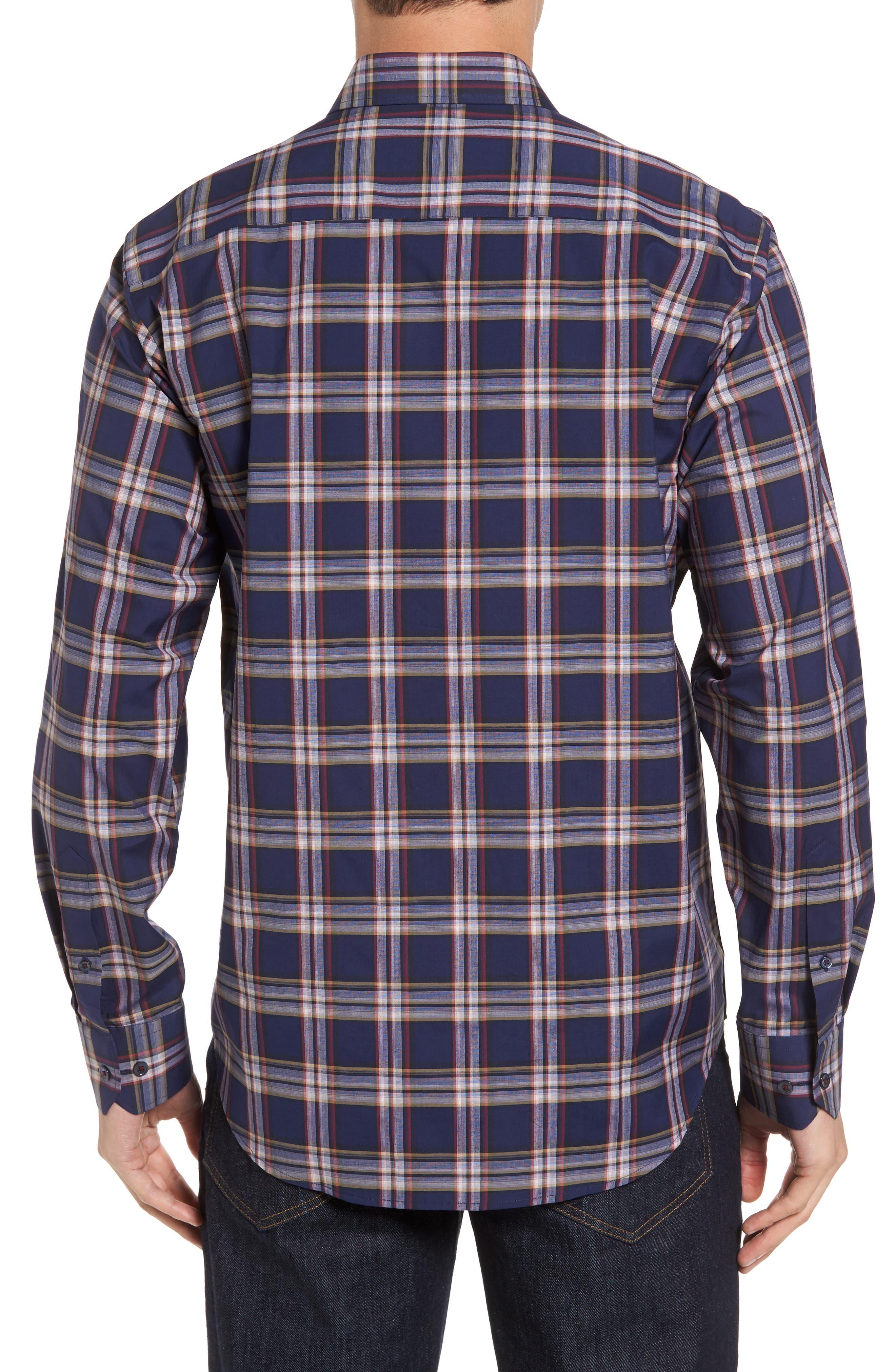 Classic Fit Plaid Sport Shirt,                             Alternate thumbnail 2, color,                             Navy