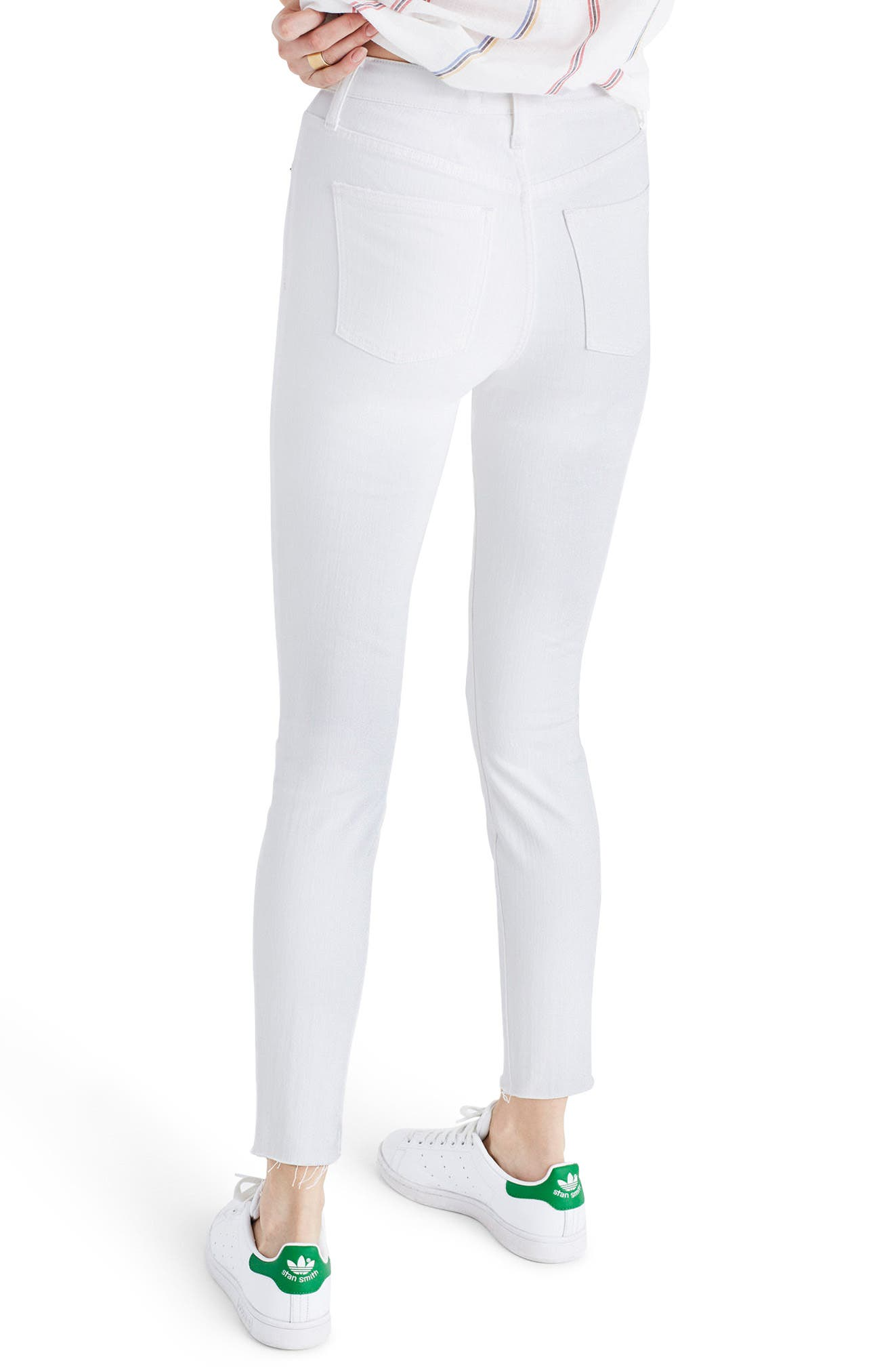 Alternate Image 2  - Madewell 9-Inch High-Rise Skinny Crop Jeans: Destructed Edition (Pure White)