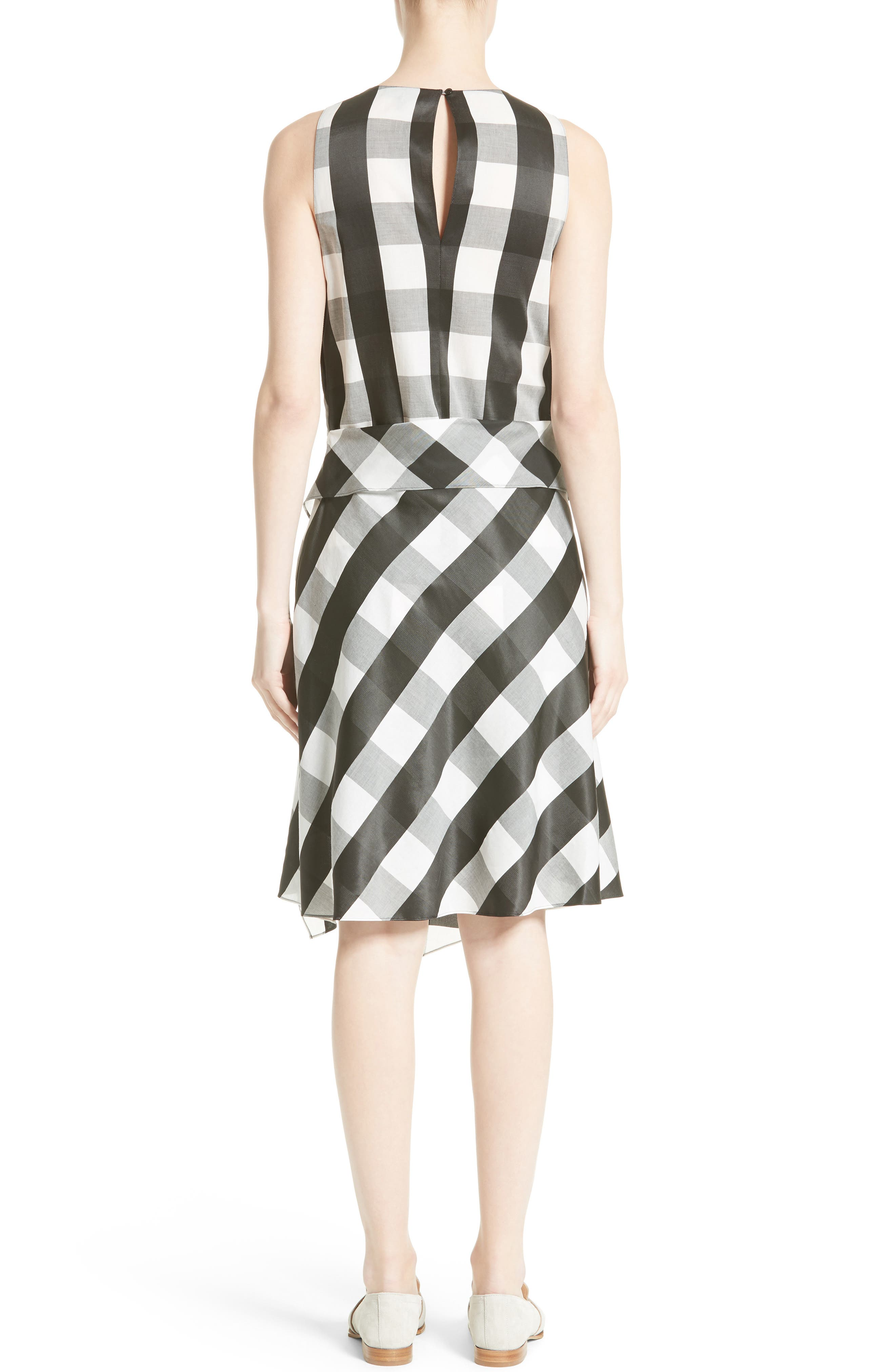 Brighton Asymmetrical Dress,                             Alternate thumbnail 2, color,                             Black/ White