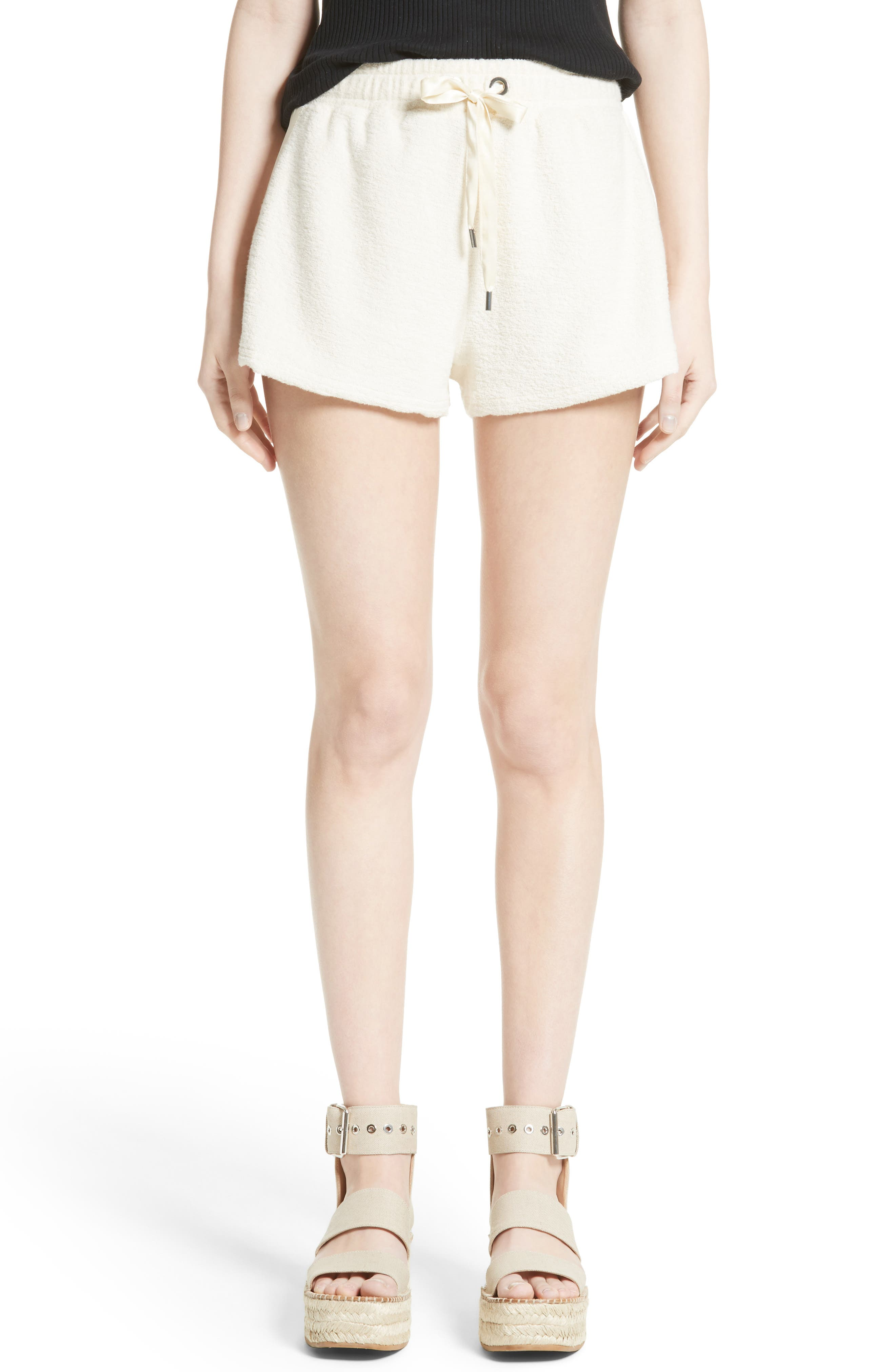 Max Silk Trim Cotton Terry Shorts,                         Main,                         color, Ivory