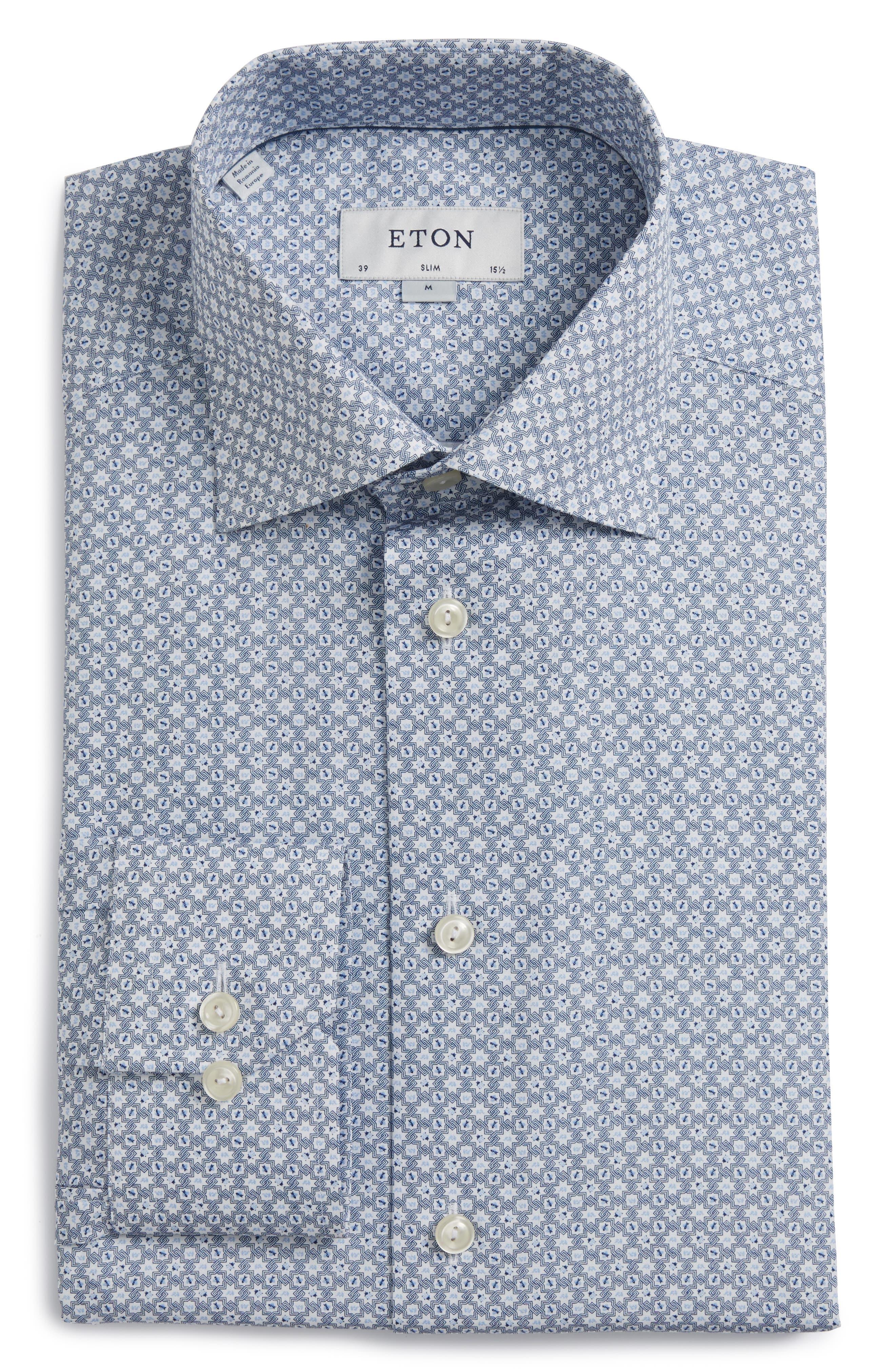 Main Image - Eton Slim Fit Print Dress Shirt