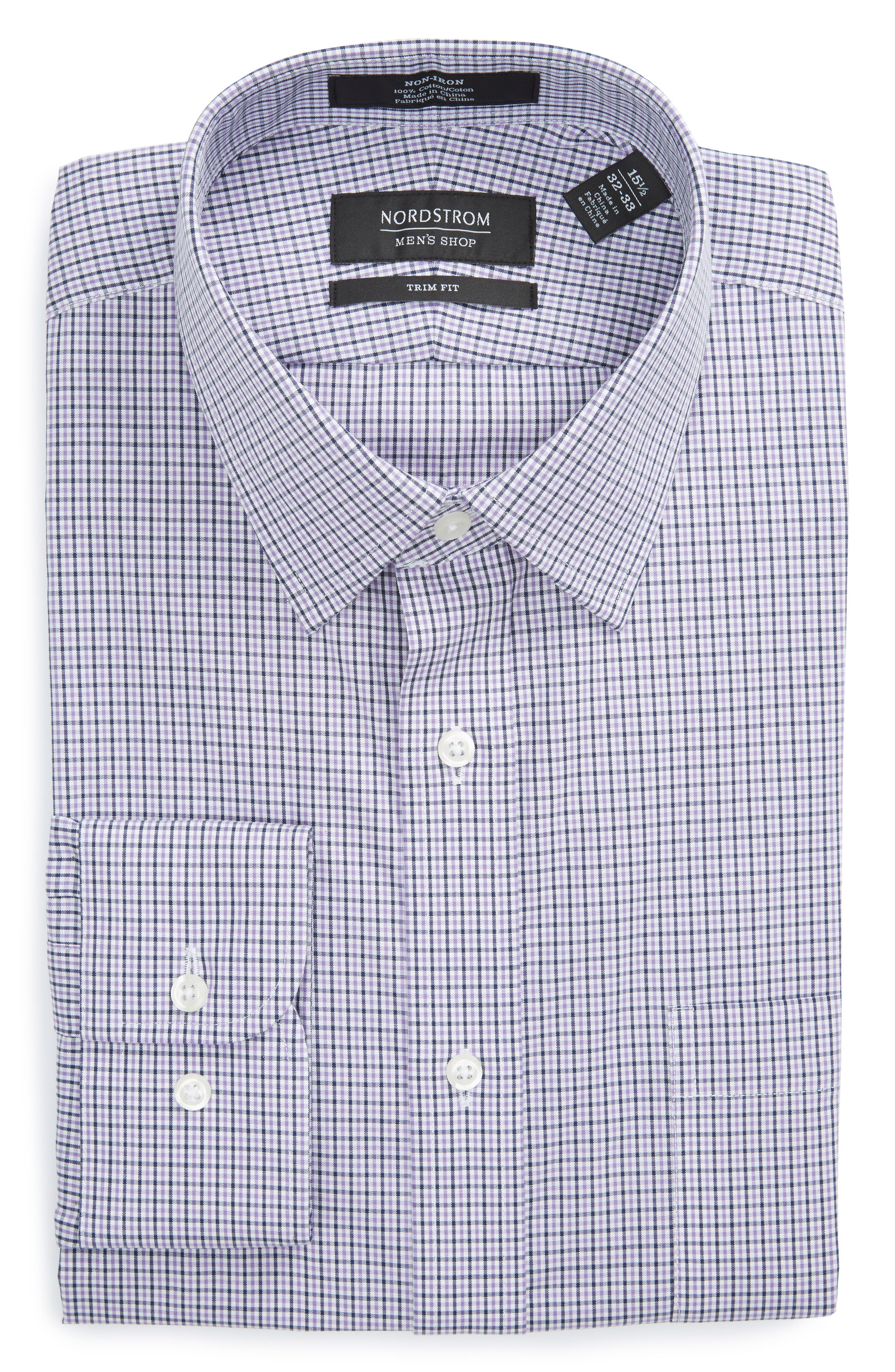 NORDSTROM MENS SHOP Trim Fit Non-Iron Check Dress Shirt