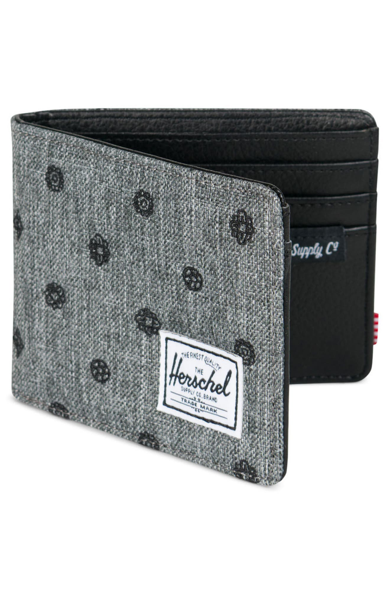 Hank RFID Wallet,                             Alternate thumbnail 3, color,                             Raven Crosshatch Embroidery
