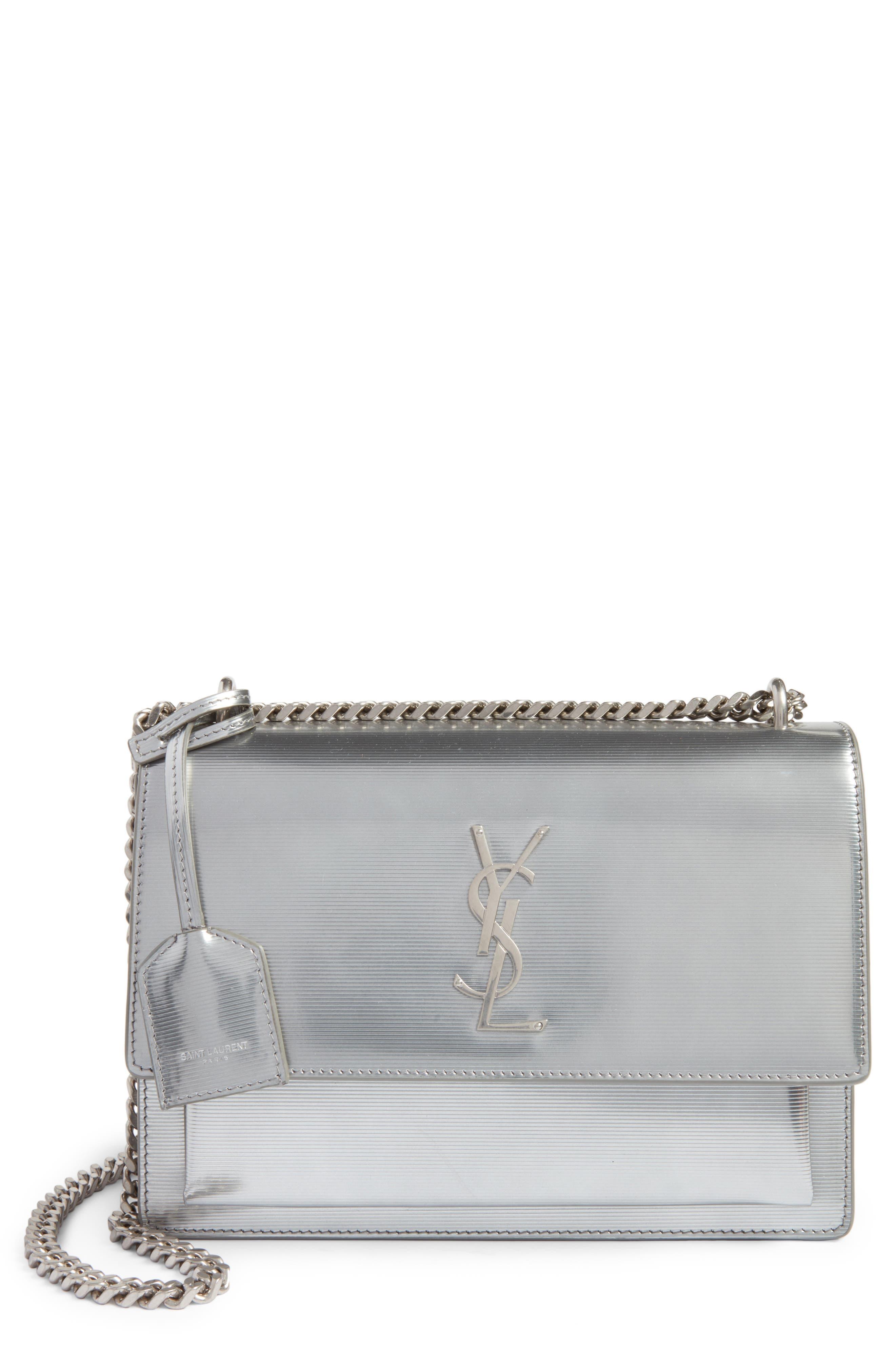 Medium Sunset Opium Leather Crossbody Bag,                             Main thumbnail 1, color,                             Dark Silver