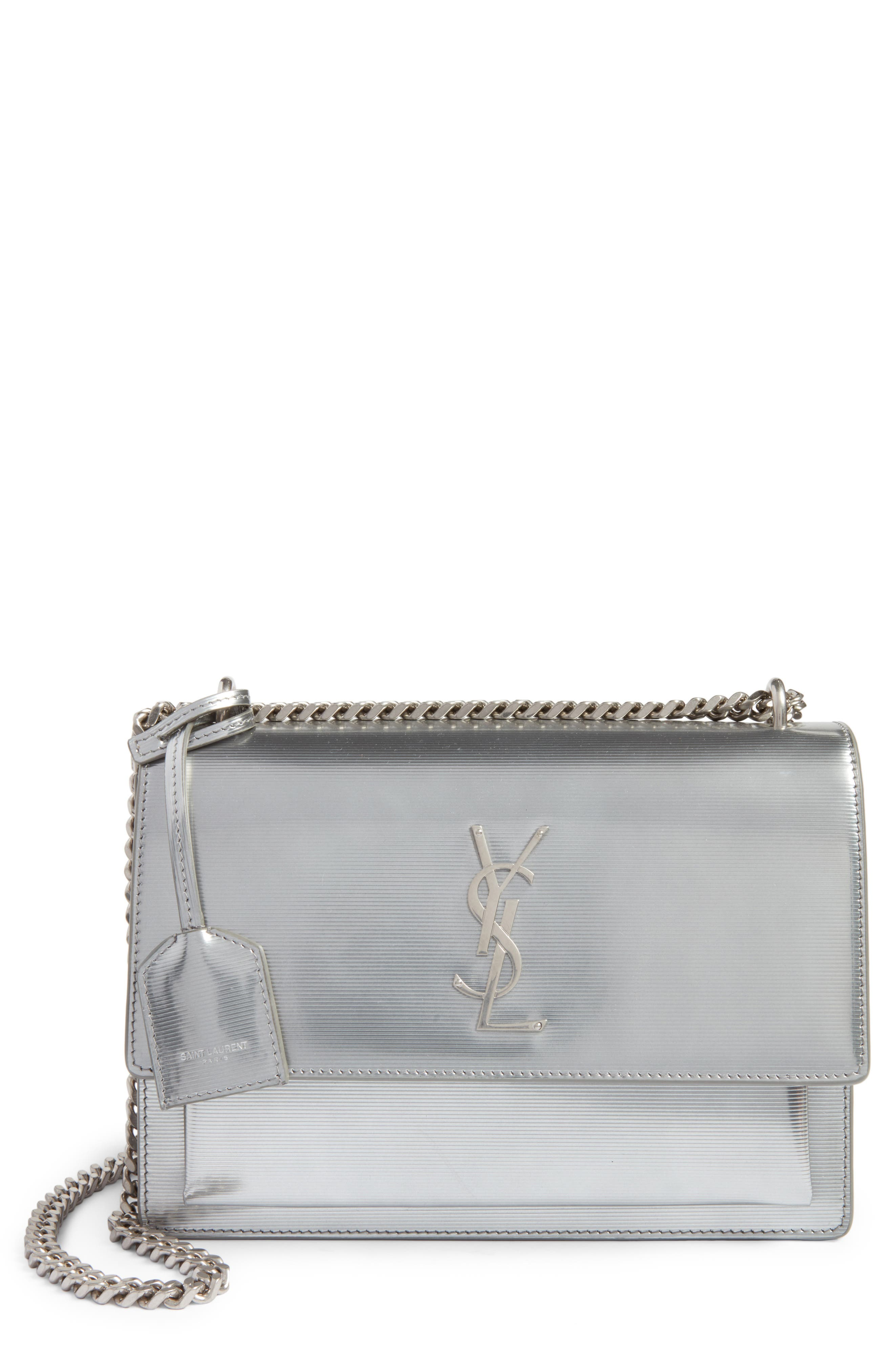 Medium Sunset Opium Leather Crossbody Bag,                         Main,                         color, Dark Silver