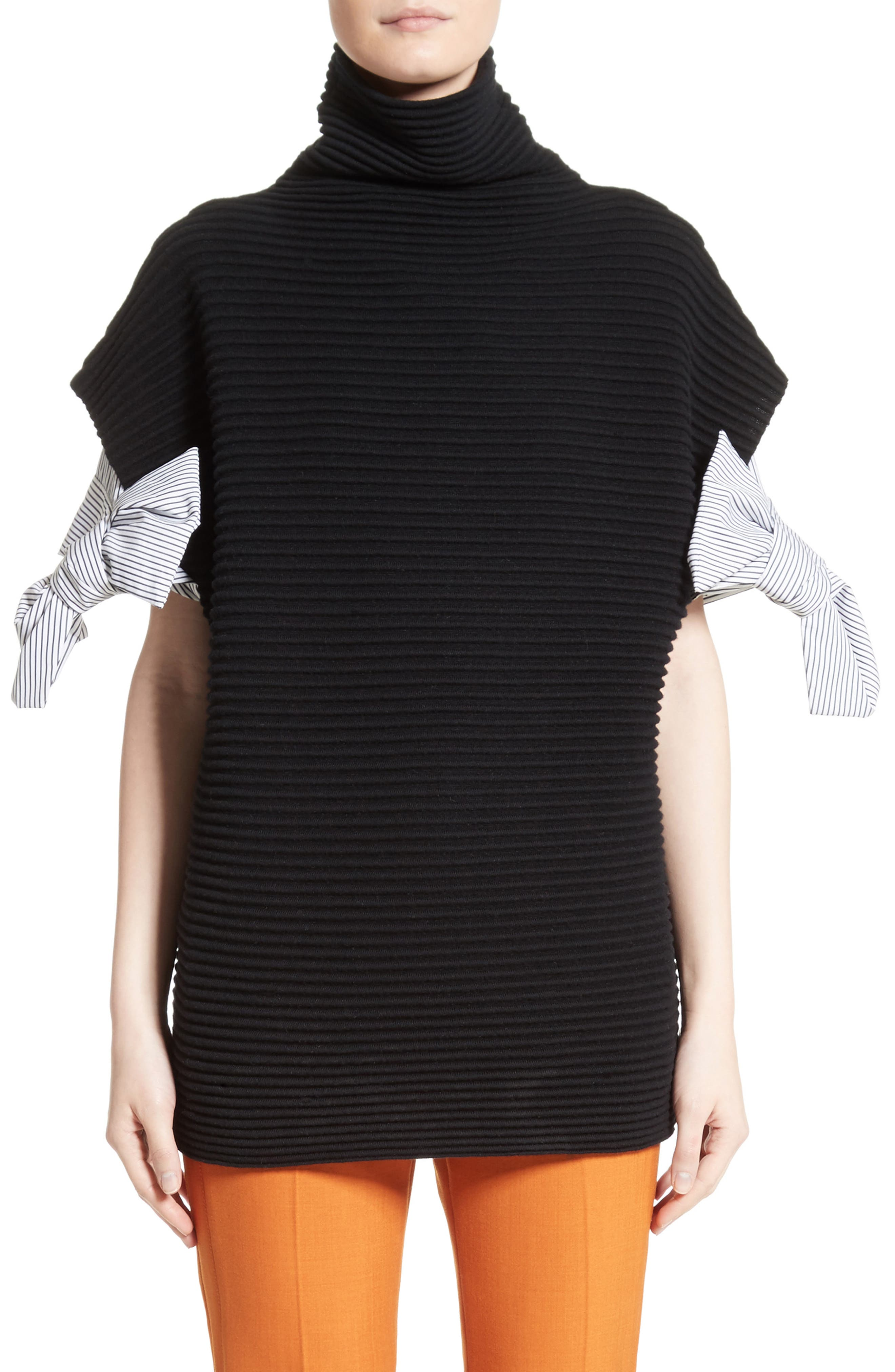 Bow Sleeve Funnel Neck Sweater,                         Main,                         color, Black