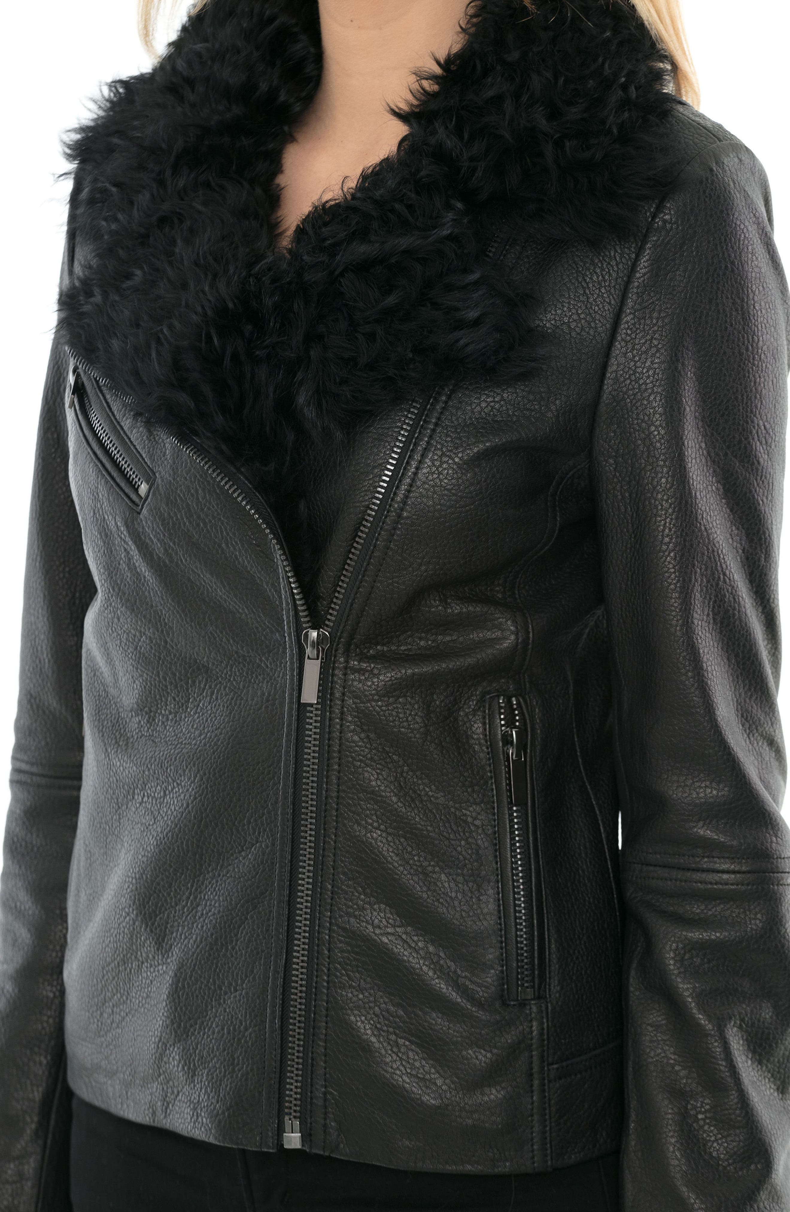 Marianne Genuine Shearling Collar Moto Jacket,                             Alternate thumbnail 4, color,                             Black