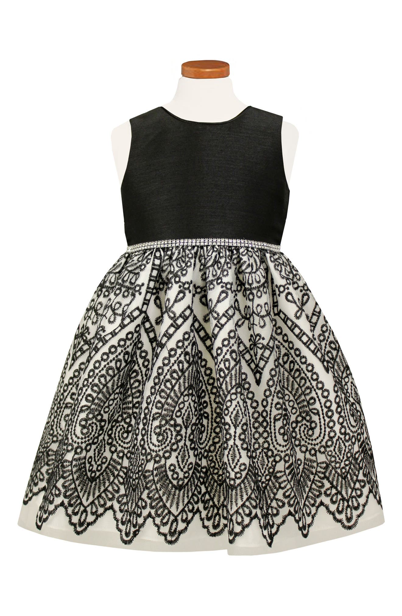 Embroidered Party Dress,                         Main,                         color, Black