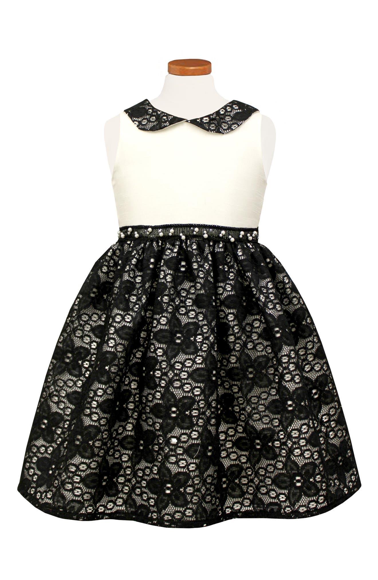 Peter Pan Collar Party Dress,                             Main thumbnail 1, color,                             Black