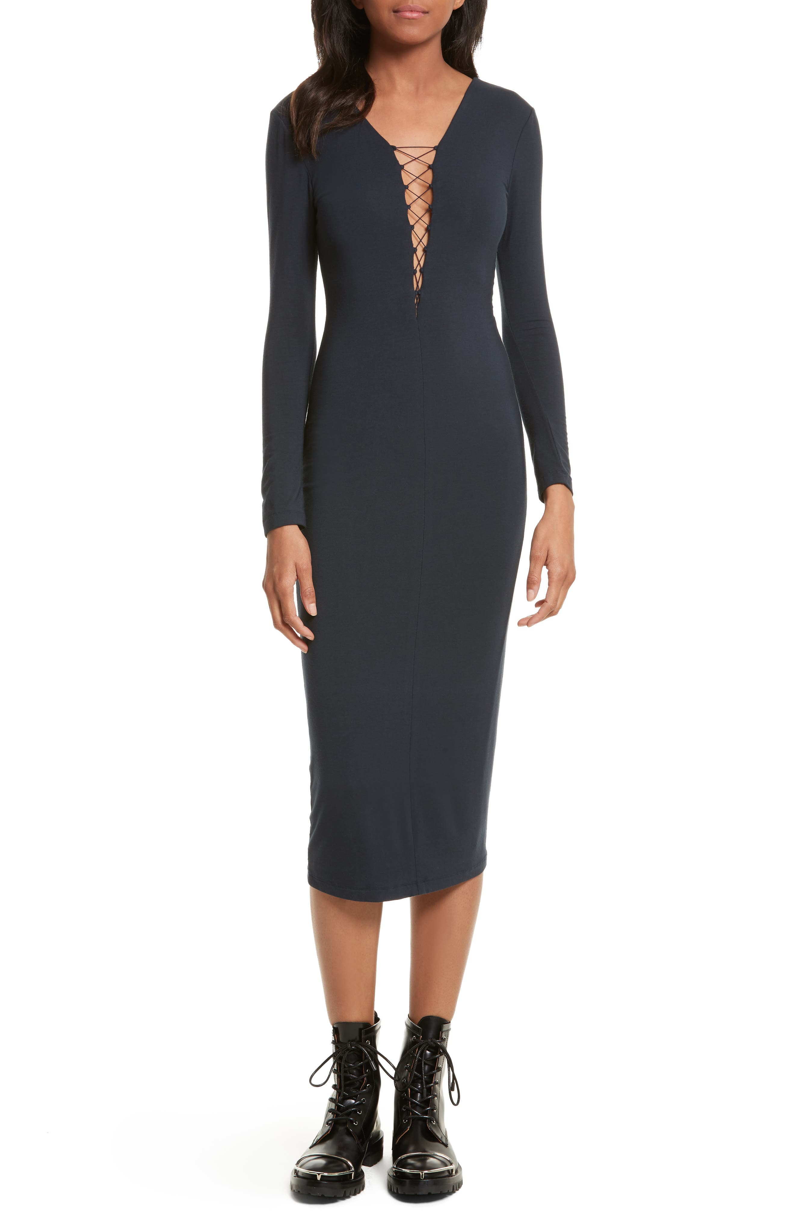 Alternate Image 1 Selected - T by Alexander Wang Lace-Up Midi Dress
