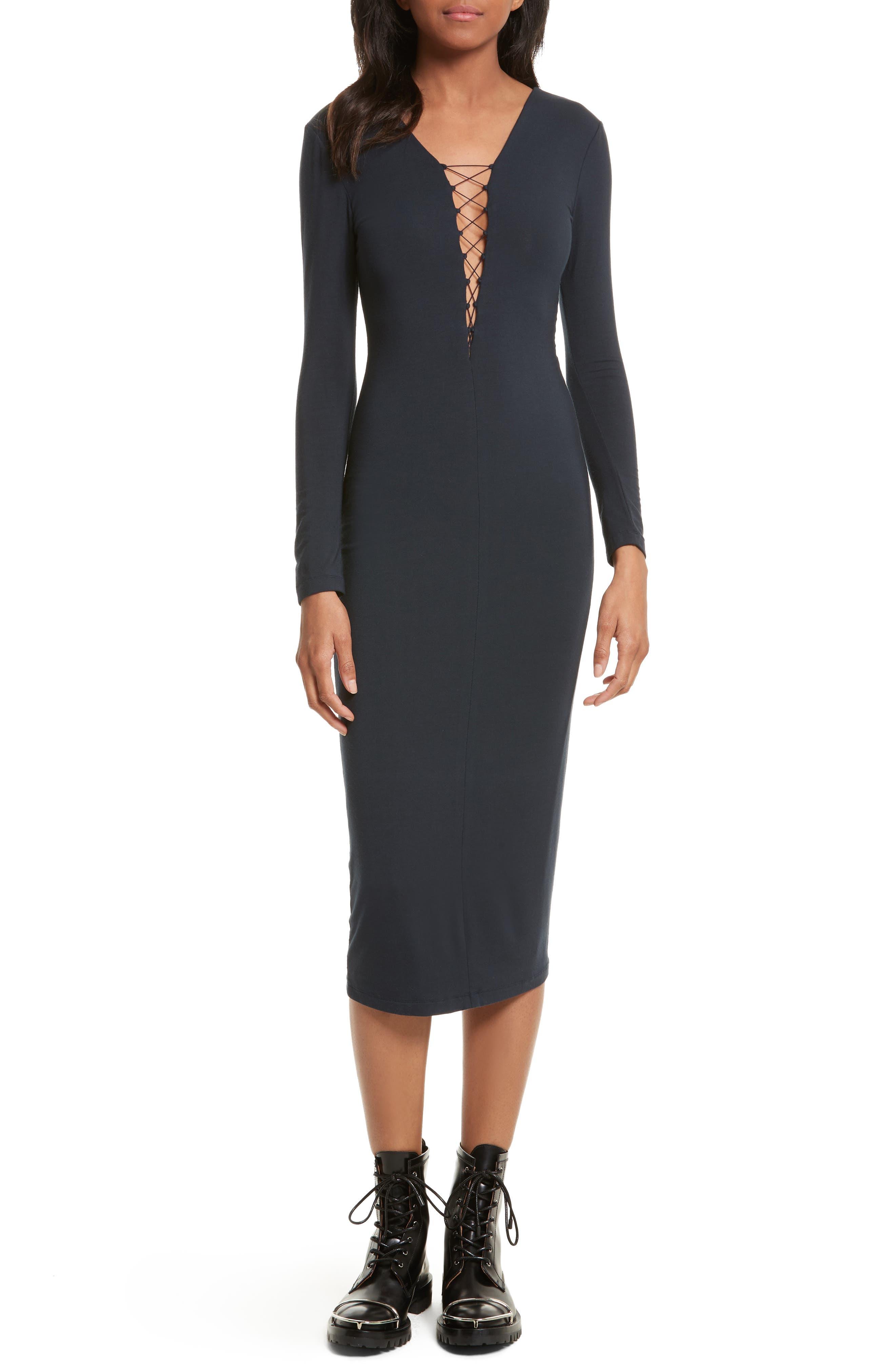 Lace-Up Midi Dress,                         Main,                         color, Navy