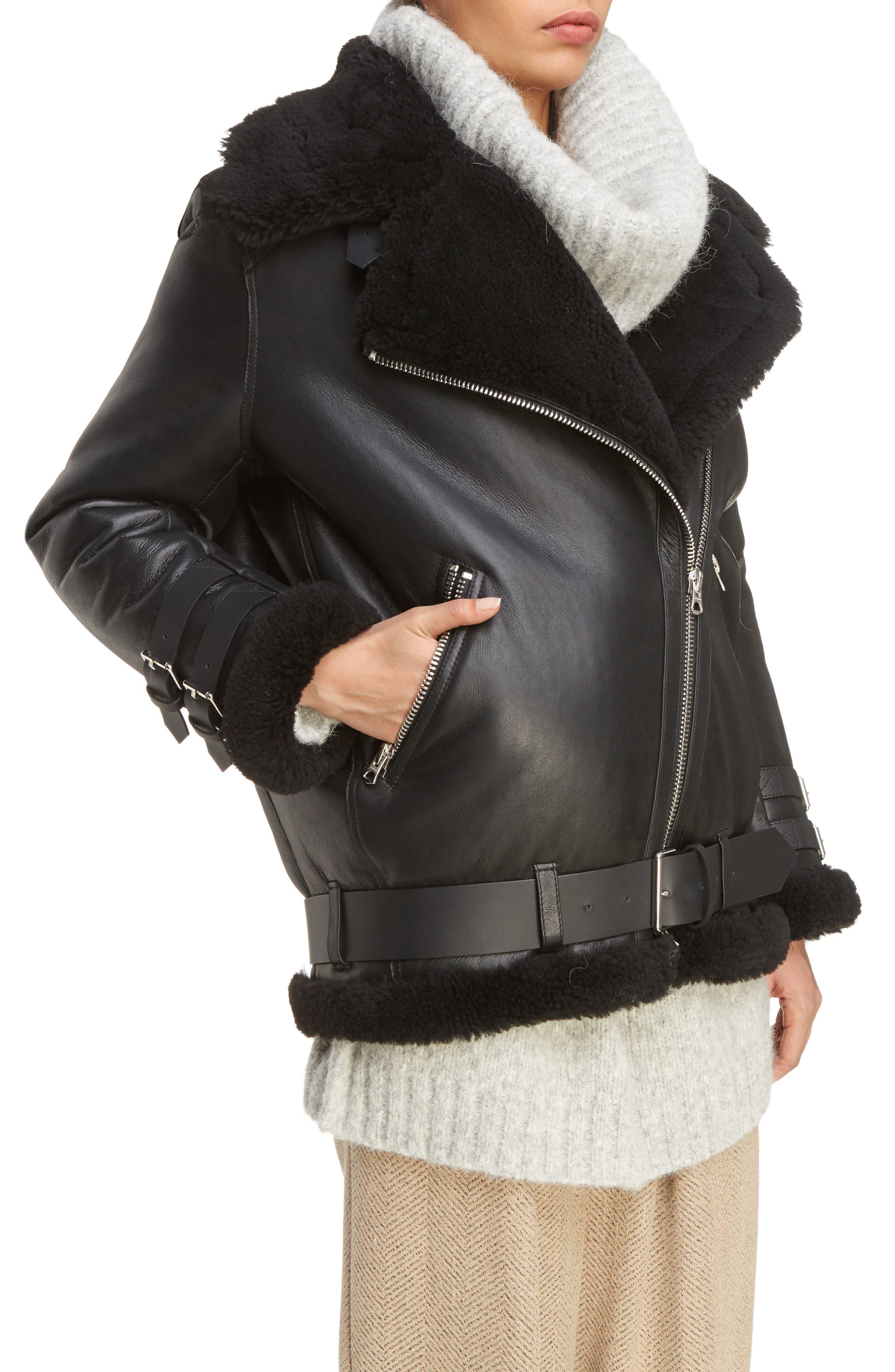 Alternate Image 5  - ACNE Studios Velocite Genuine Shearling Oversize Moto Jacket