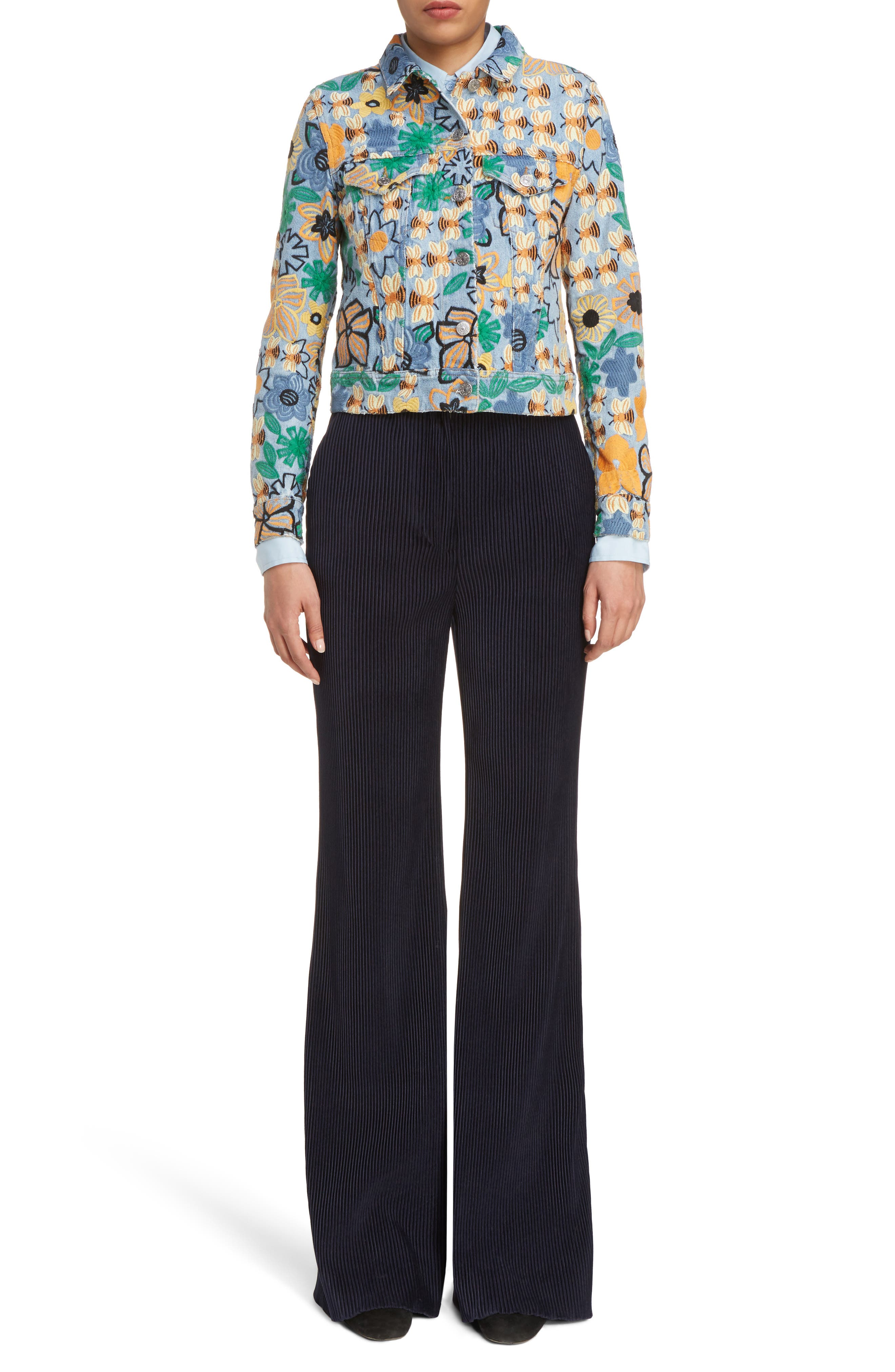 Alternate Image 6  - ACNE Studios Chea Floral Embroidered Crop Denim Jacket