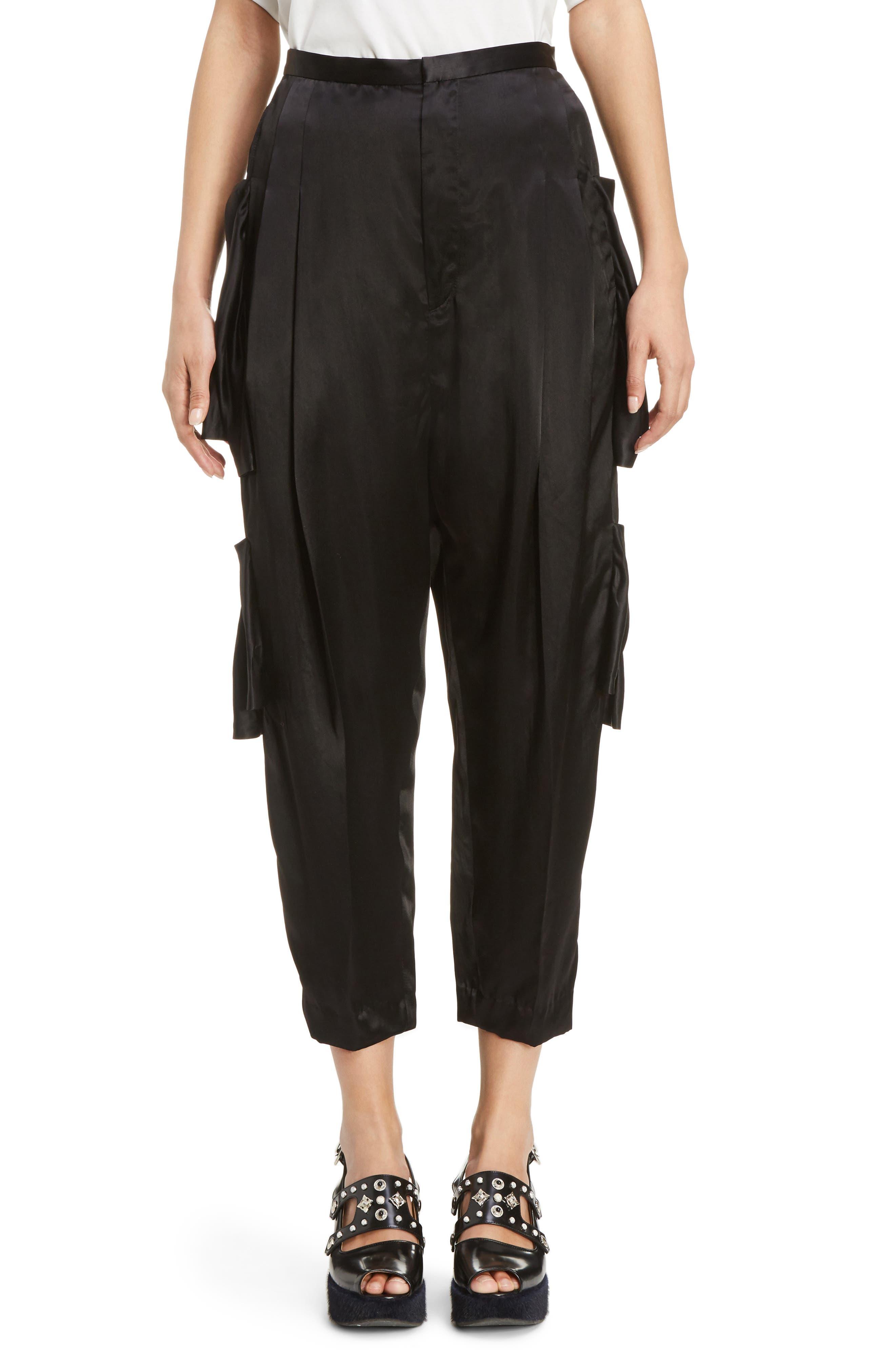 Pleated Satin Crop Pants,                         Main,                         color, Black