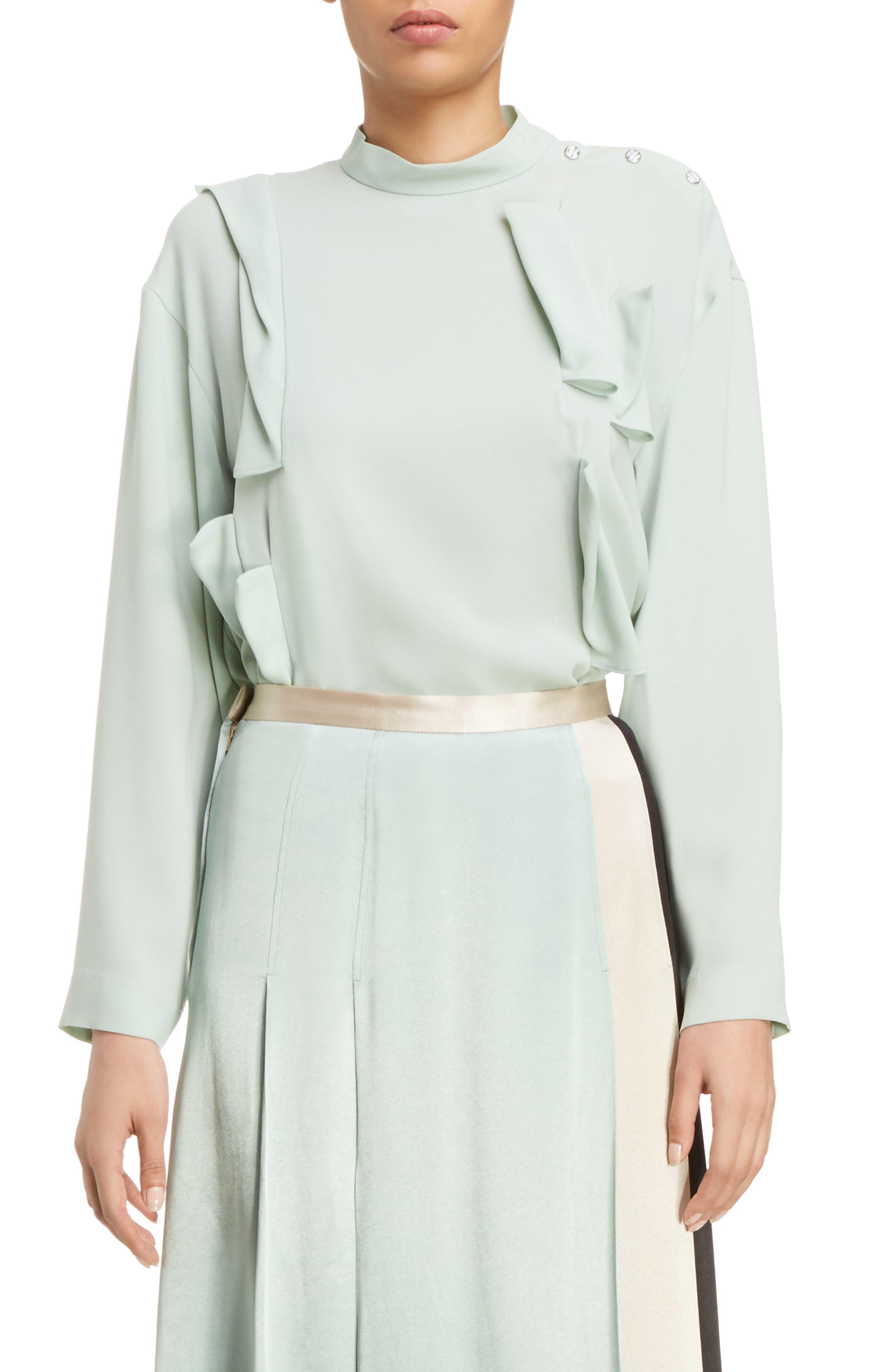 Georgette Satin Shirt,                         Main,                         color, Light Green