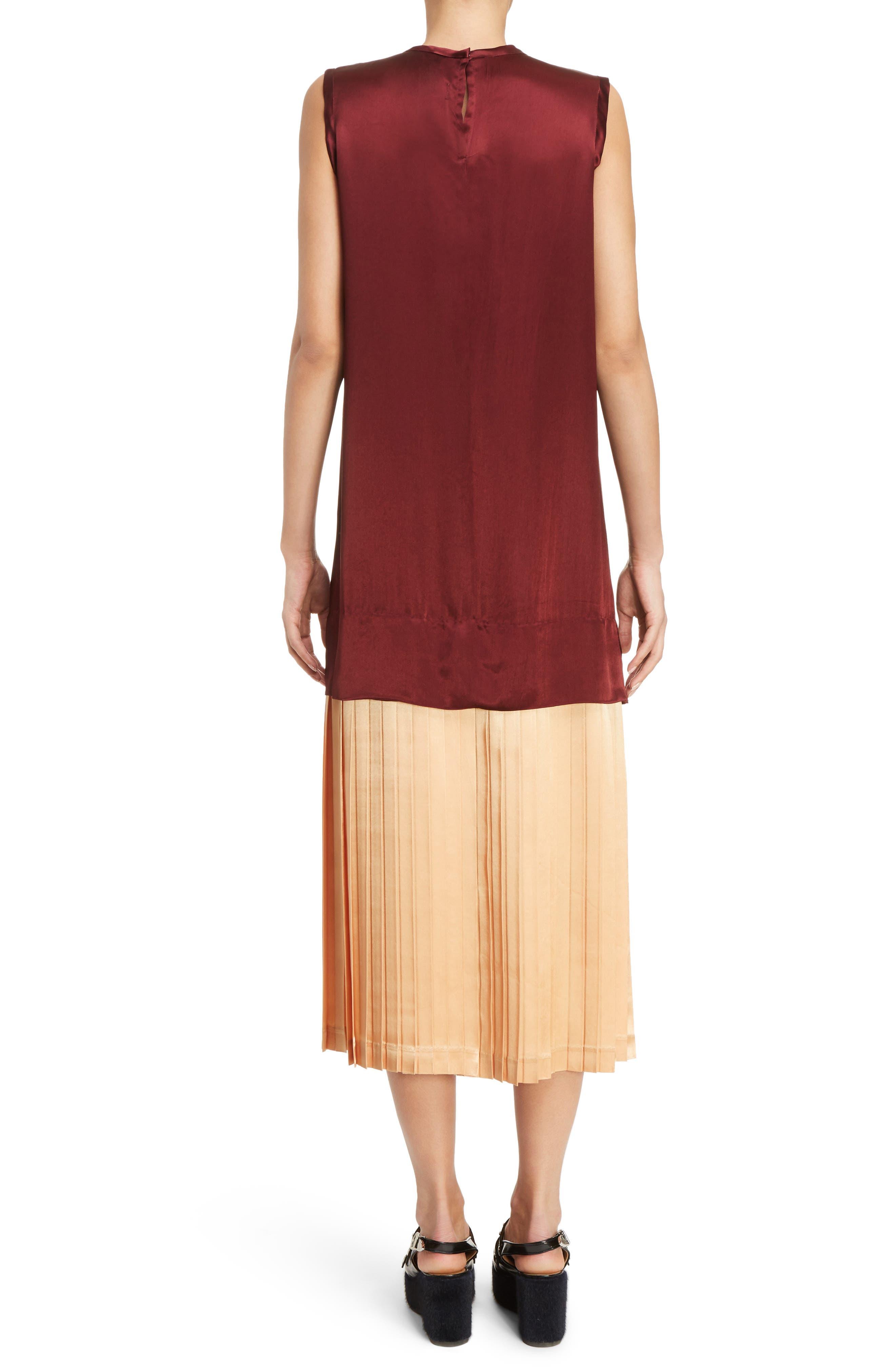 Mock Two-Piece Satin Dress,                             Alternate thumbnail 2, color,                             Dark Red