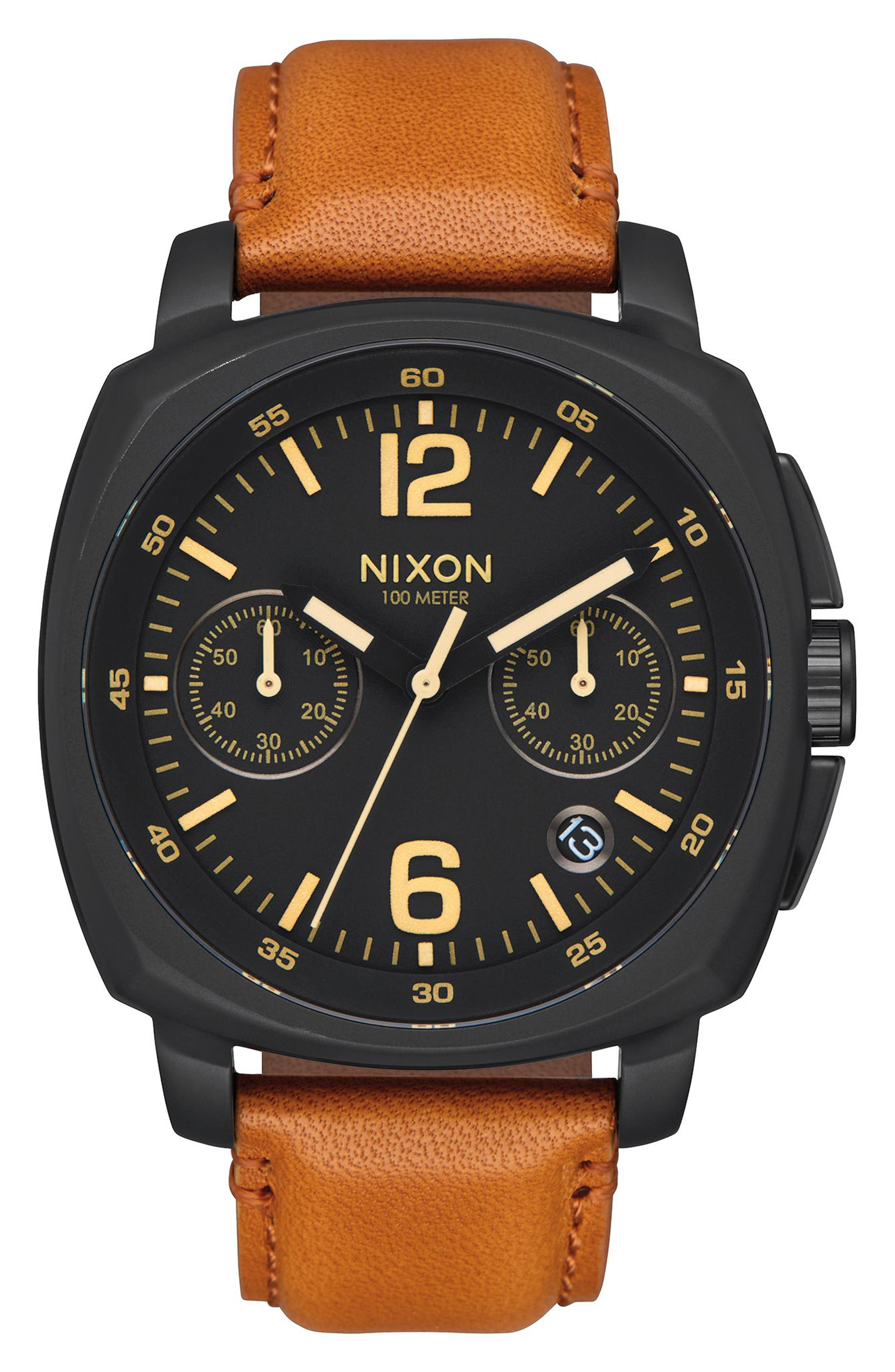 Nixon Charger Chronograph Leather Strap Watch, 42mm