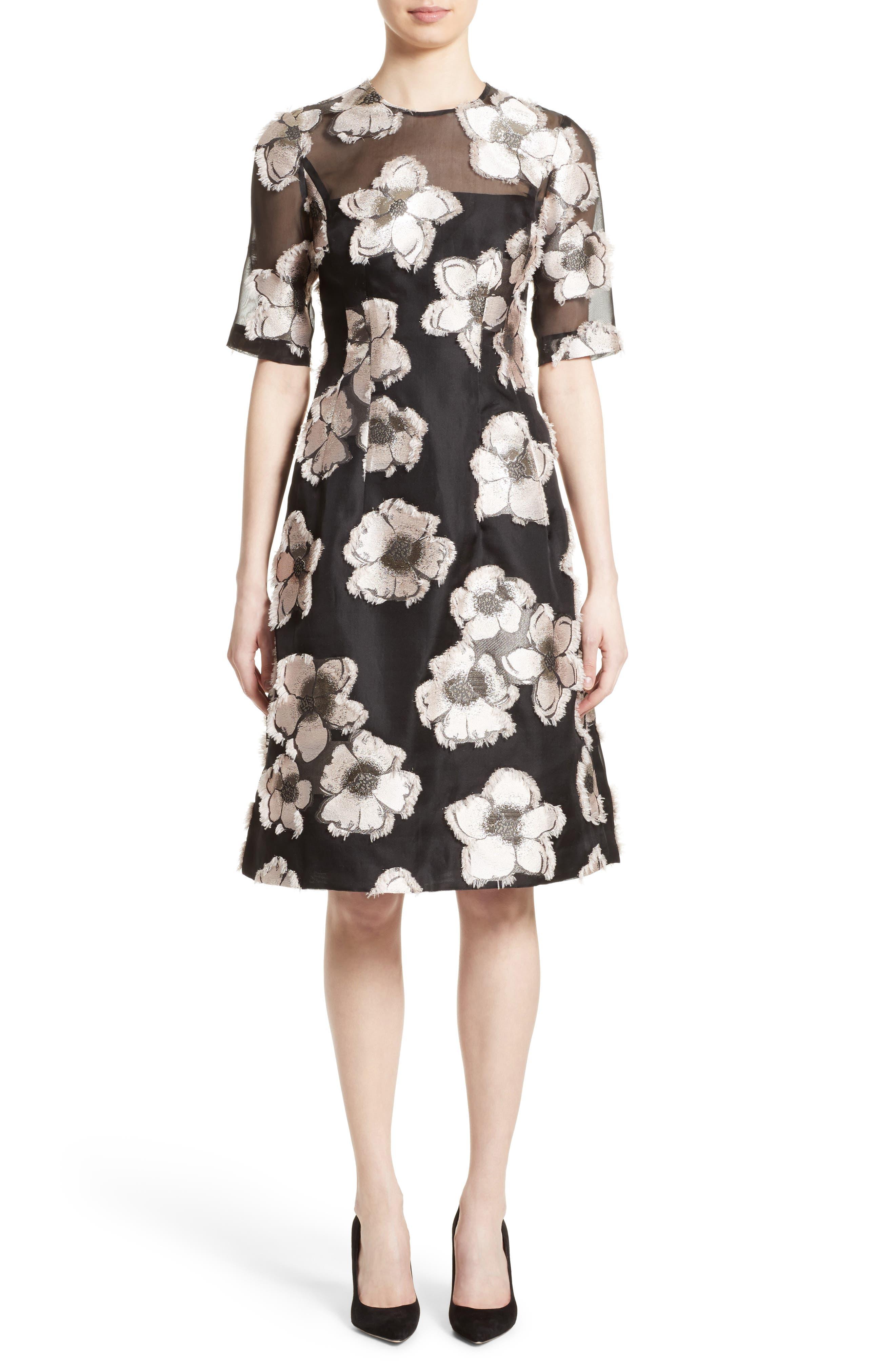 Lela Rose Holly Fil Coupé Fit & Flare Dress