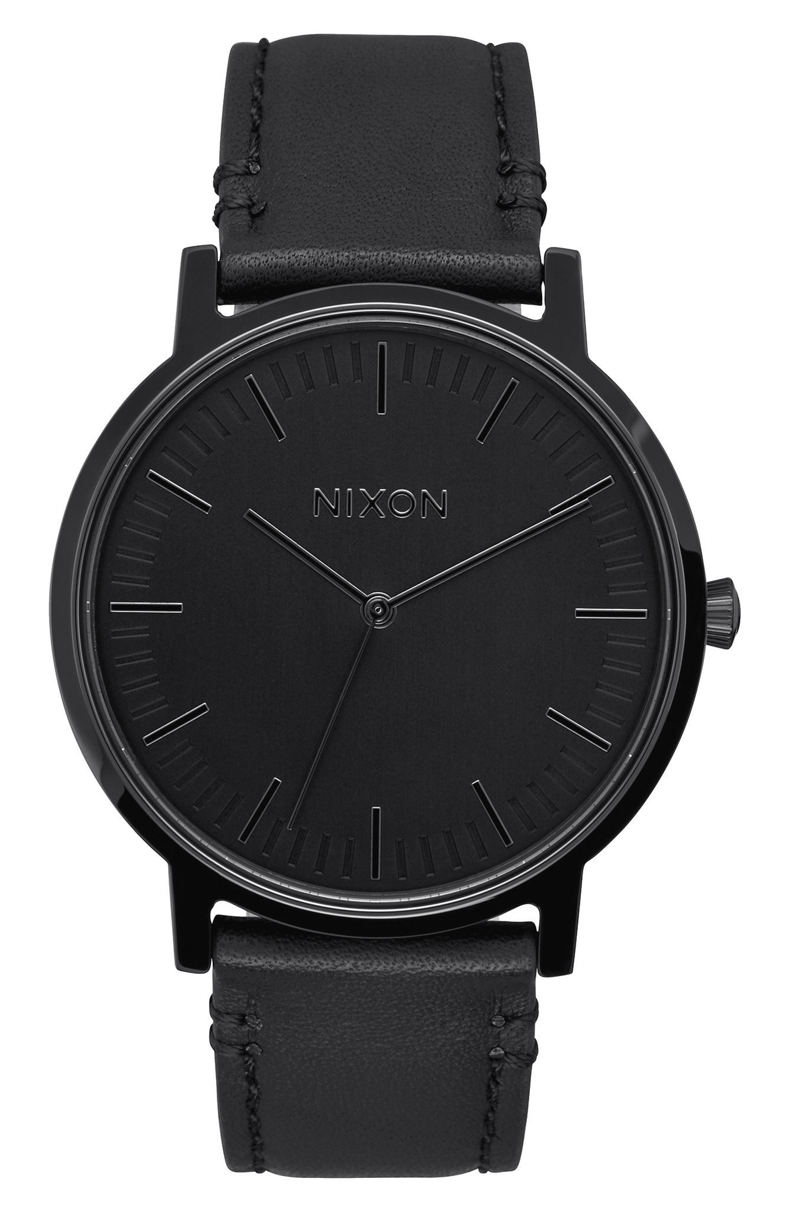 Porter Round Leather Strap Watch, 40mm,                         Main,                         color, Black