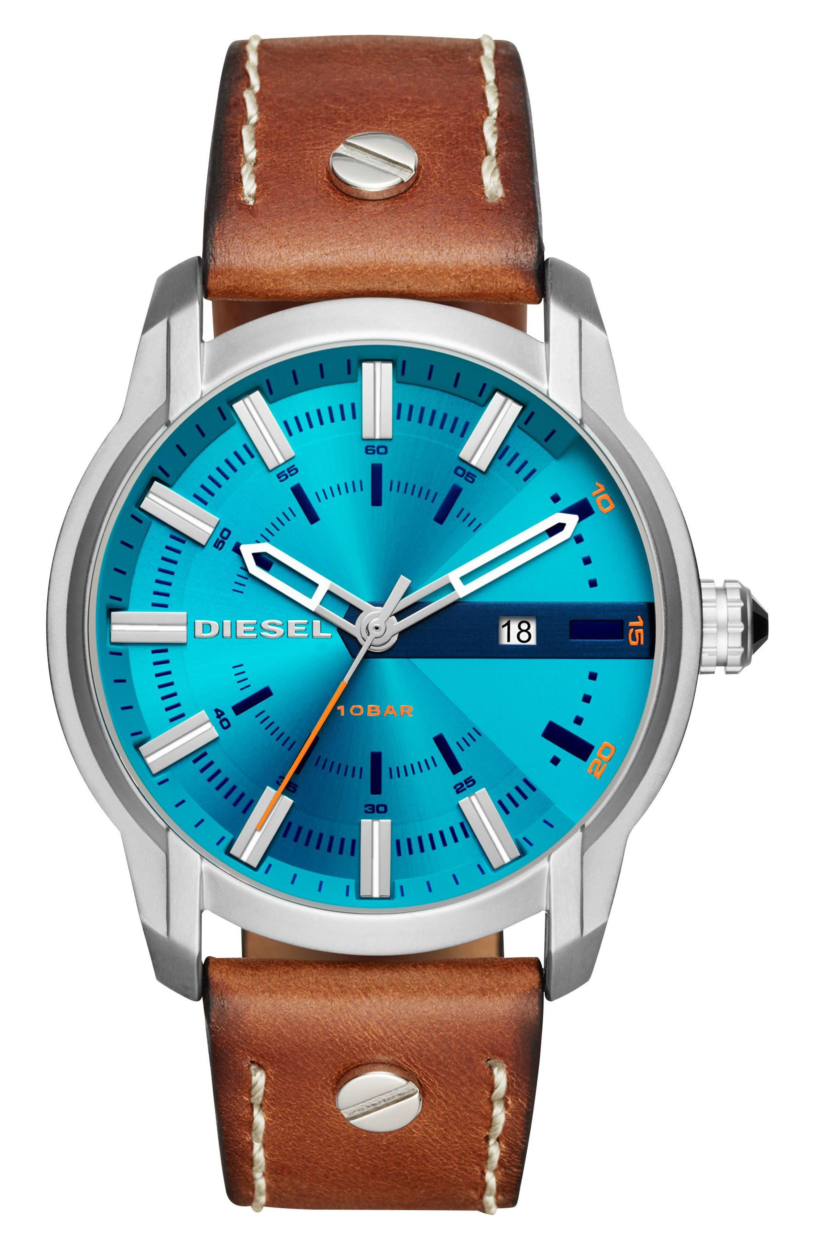 DIESEL® Armbar Leather Strap Watch, 45mm