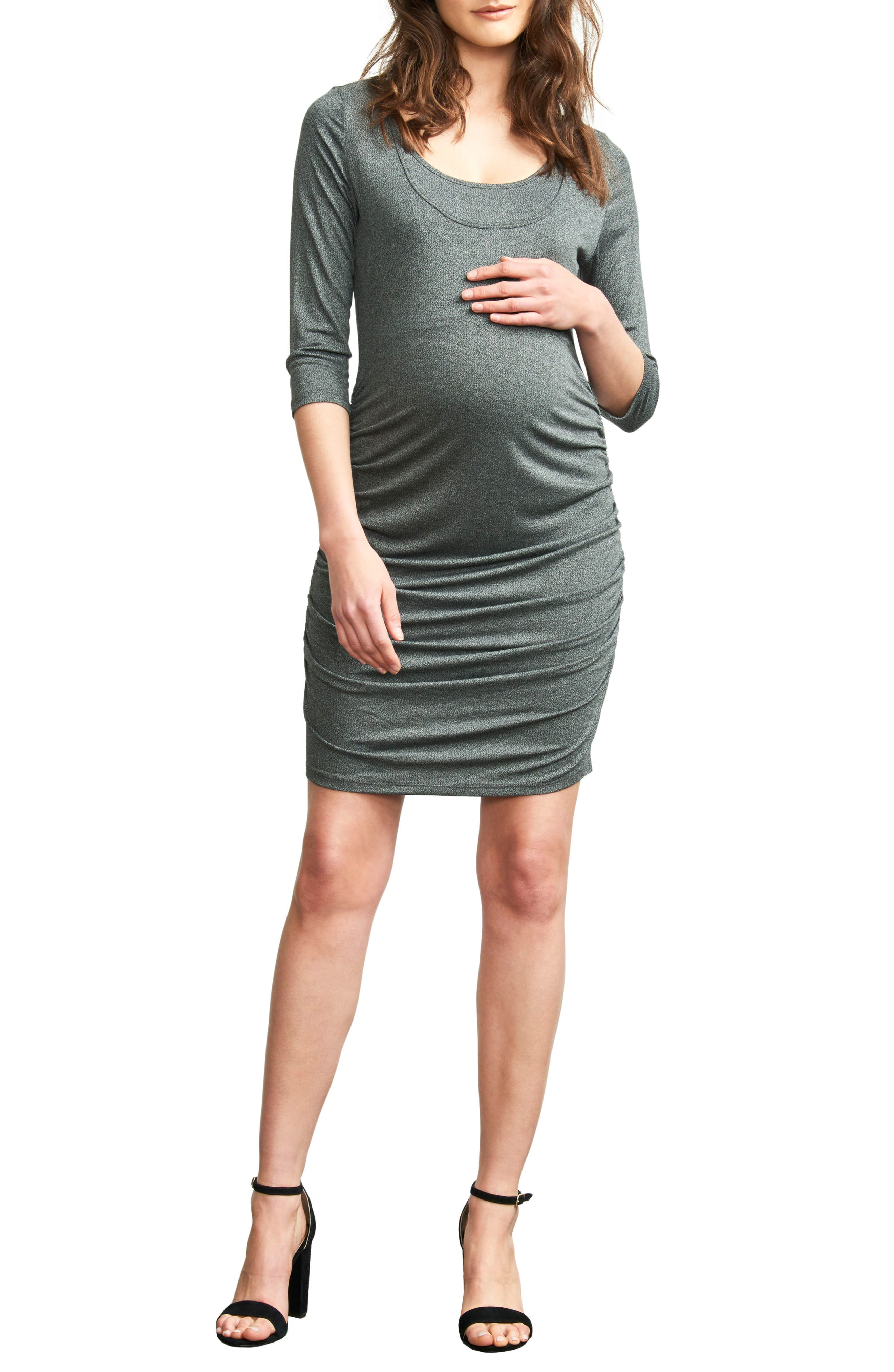 Ruched Maternity Dress,                             Main thumbnail 1, color,                             Stone Grey