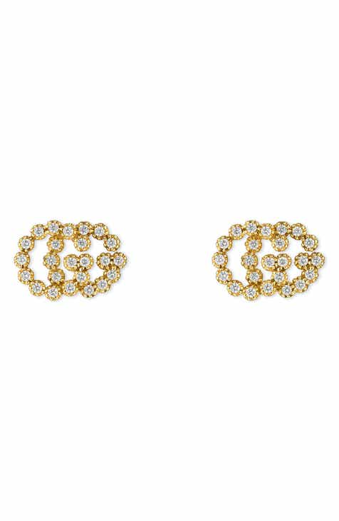 Gucci Double G Diamond Stud Earrings