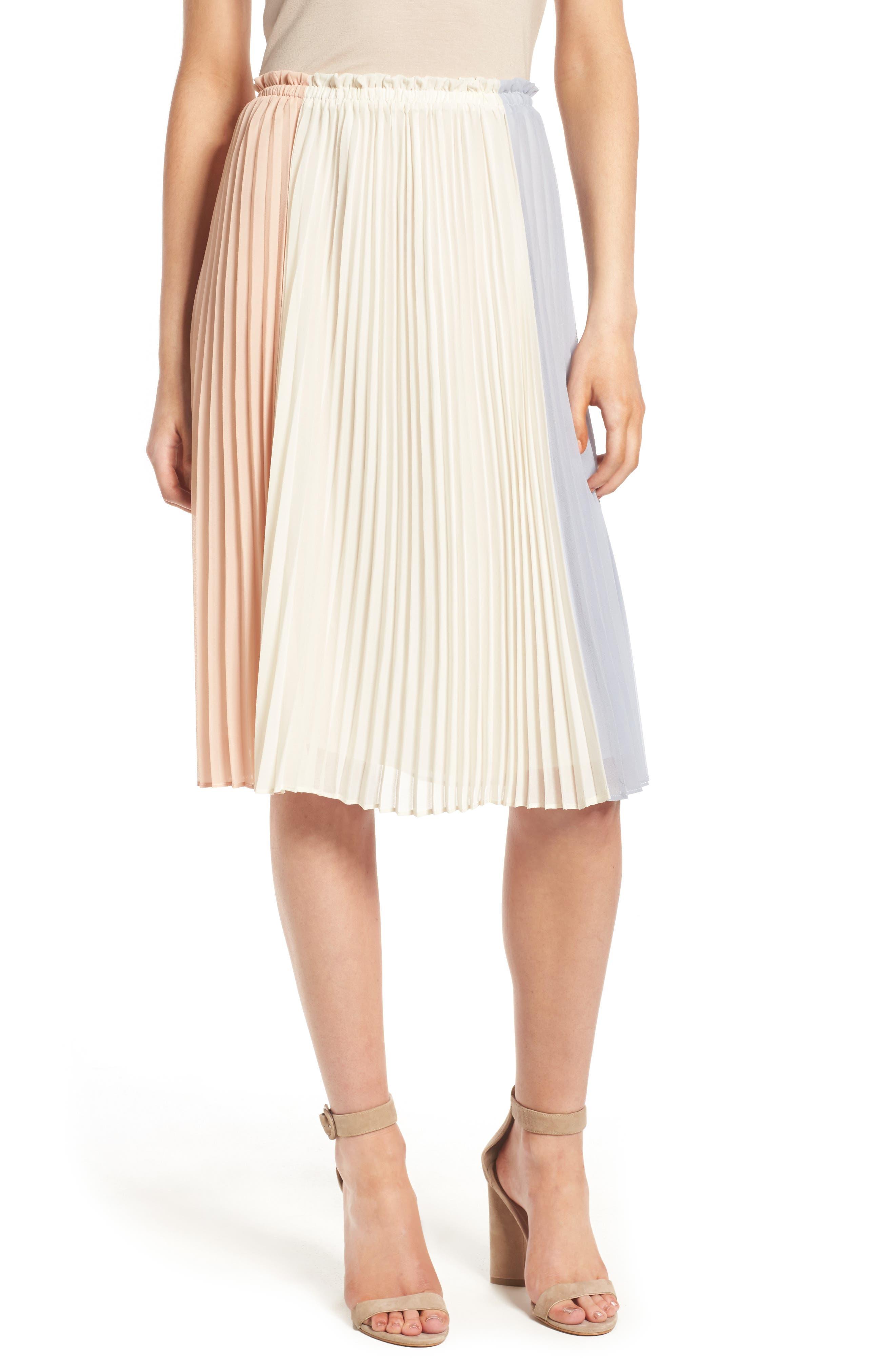 Main Image - June & Hudson Colorblock Pleat Skirt