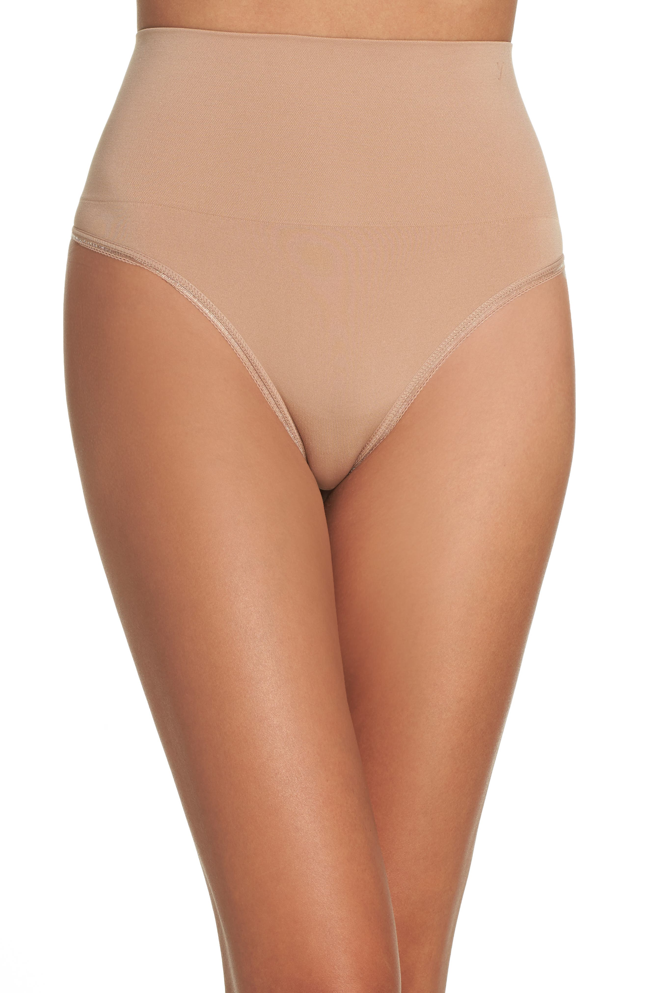 Ultralight Seamless Shaping Thong,                         Main,                         color, Almond