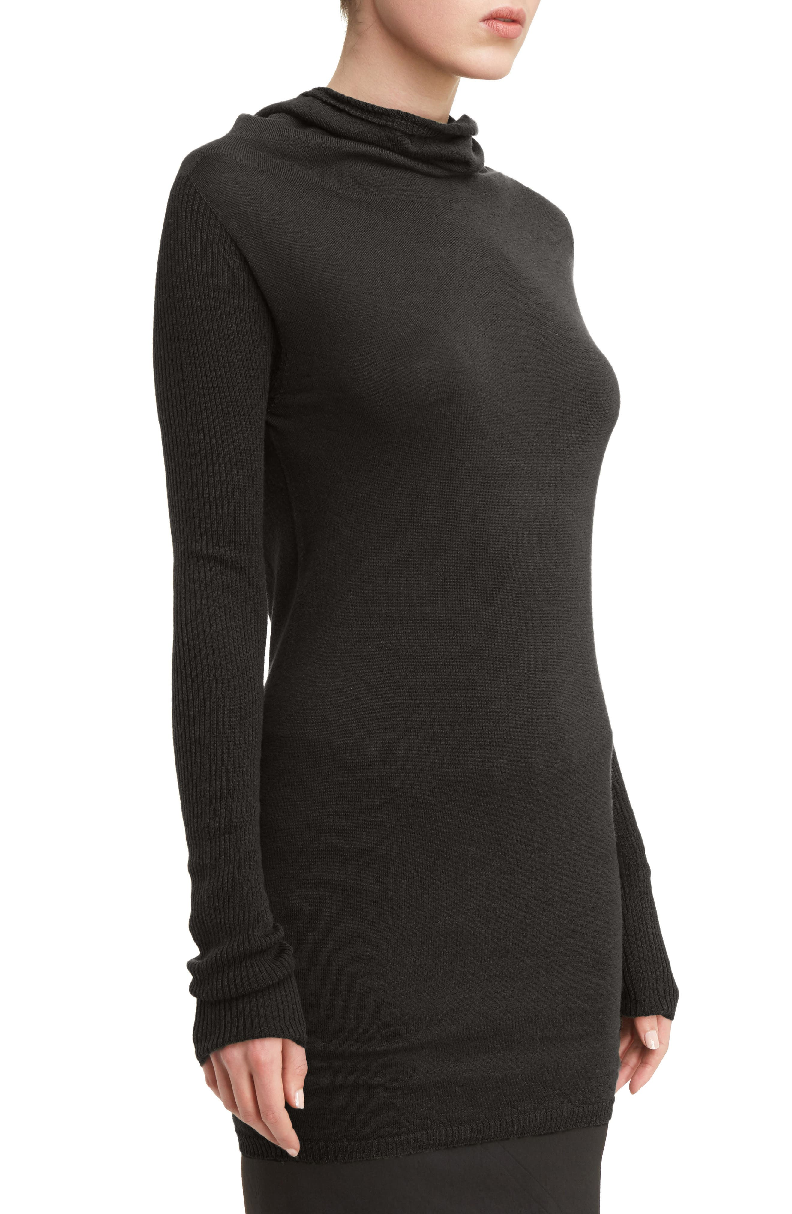 Drape Neck Wool Sweater,                             Alternate thumbnail 5, color,                             Black