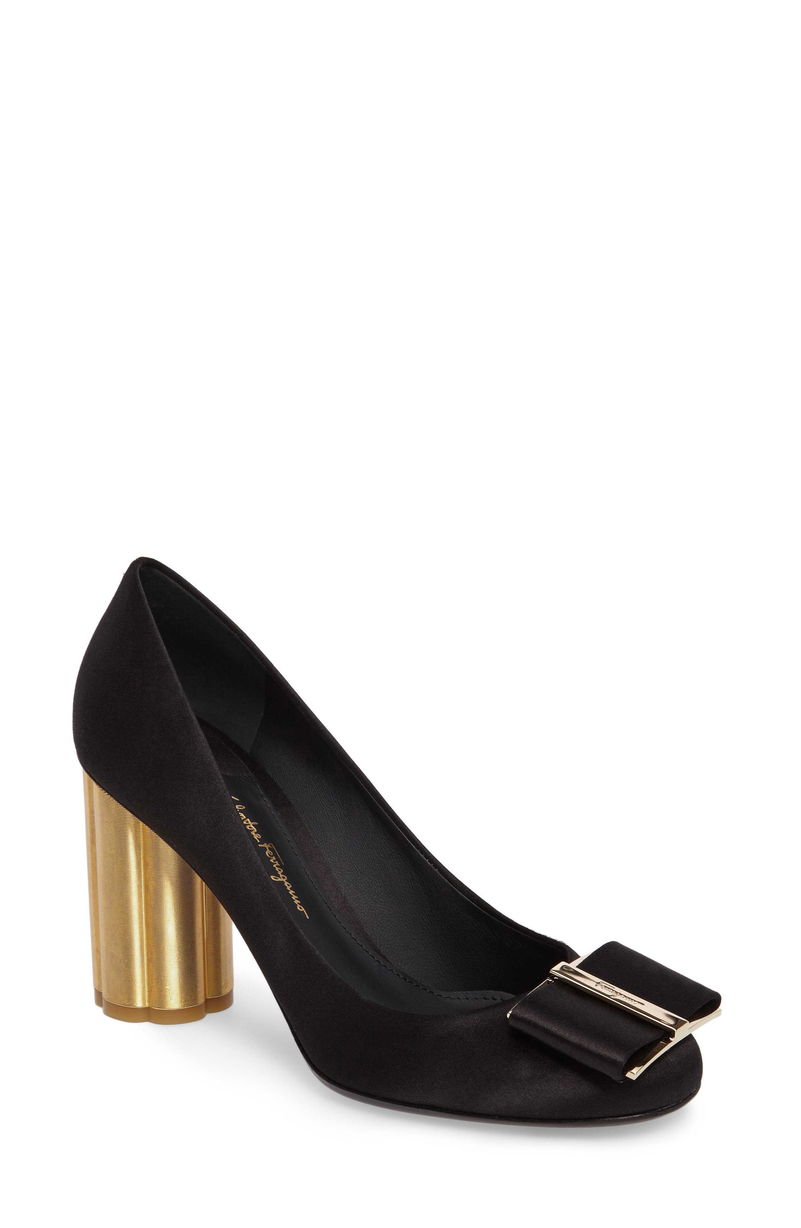 Salvatore Ferragamo Flower Heel Bow Pump (Women)
