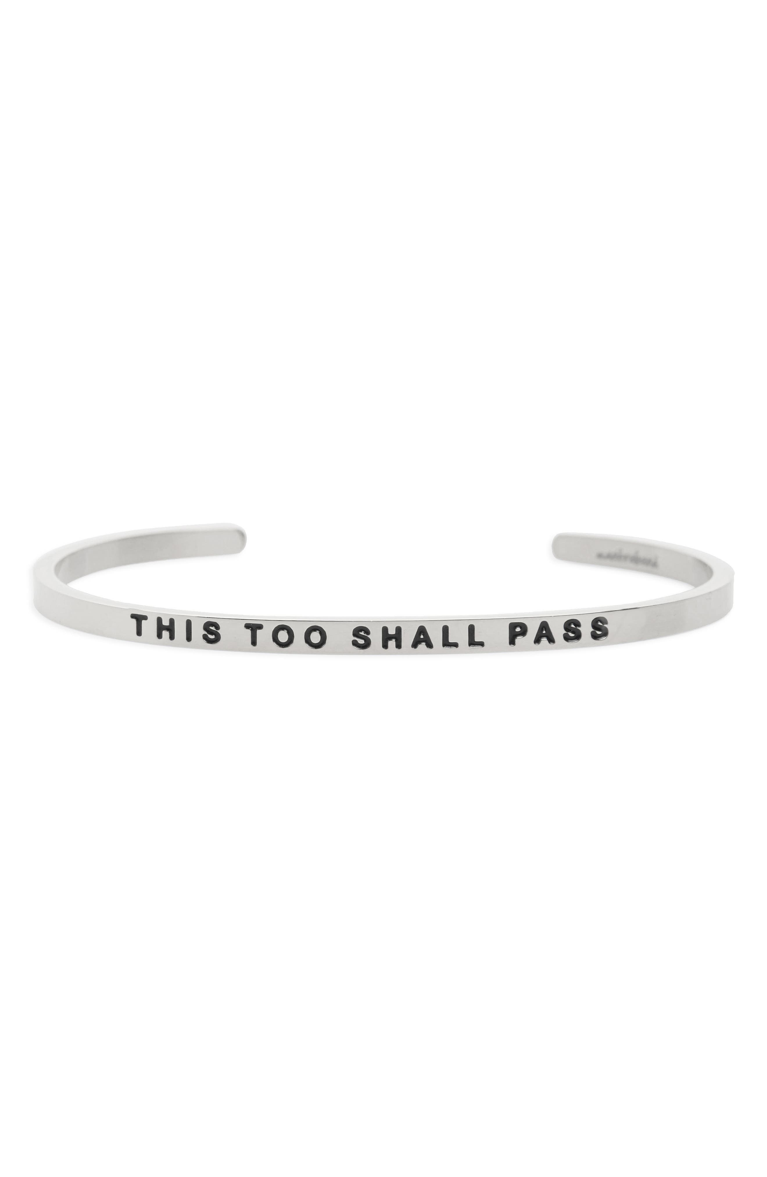 This Too Shall Pass Wrist Cuff,                         Main,                         color, Silver