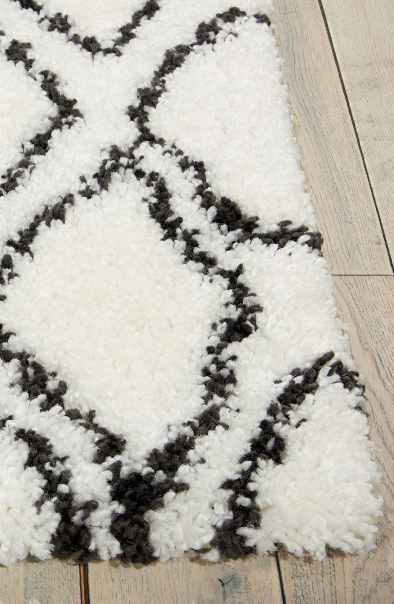Riad Shag Area Rug,                             Alternate thumbnail 2, color,                             Ivory/ Charcoal 2