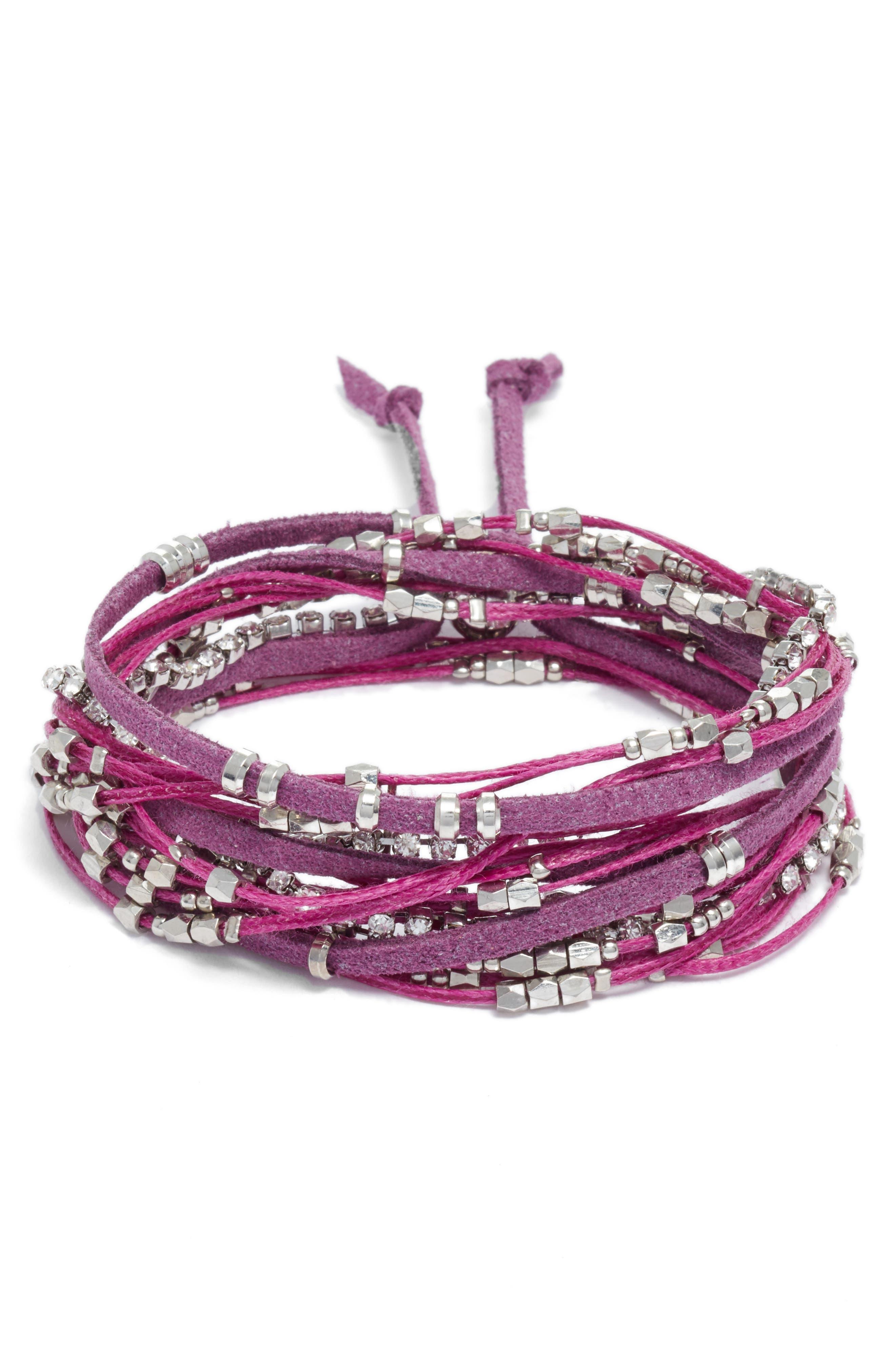 Convertible Wrap Bracelet,                             Main thumbnail 1, color,                             Violet