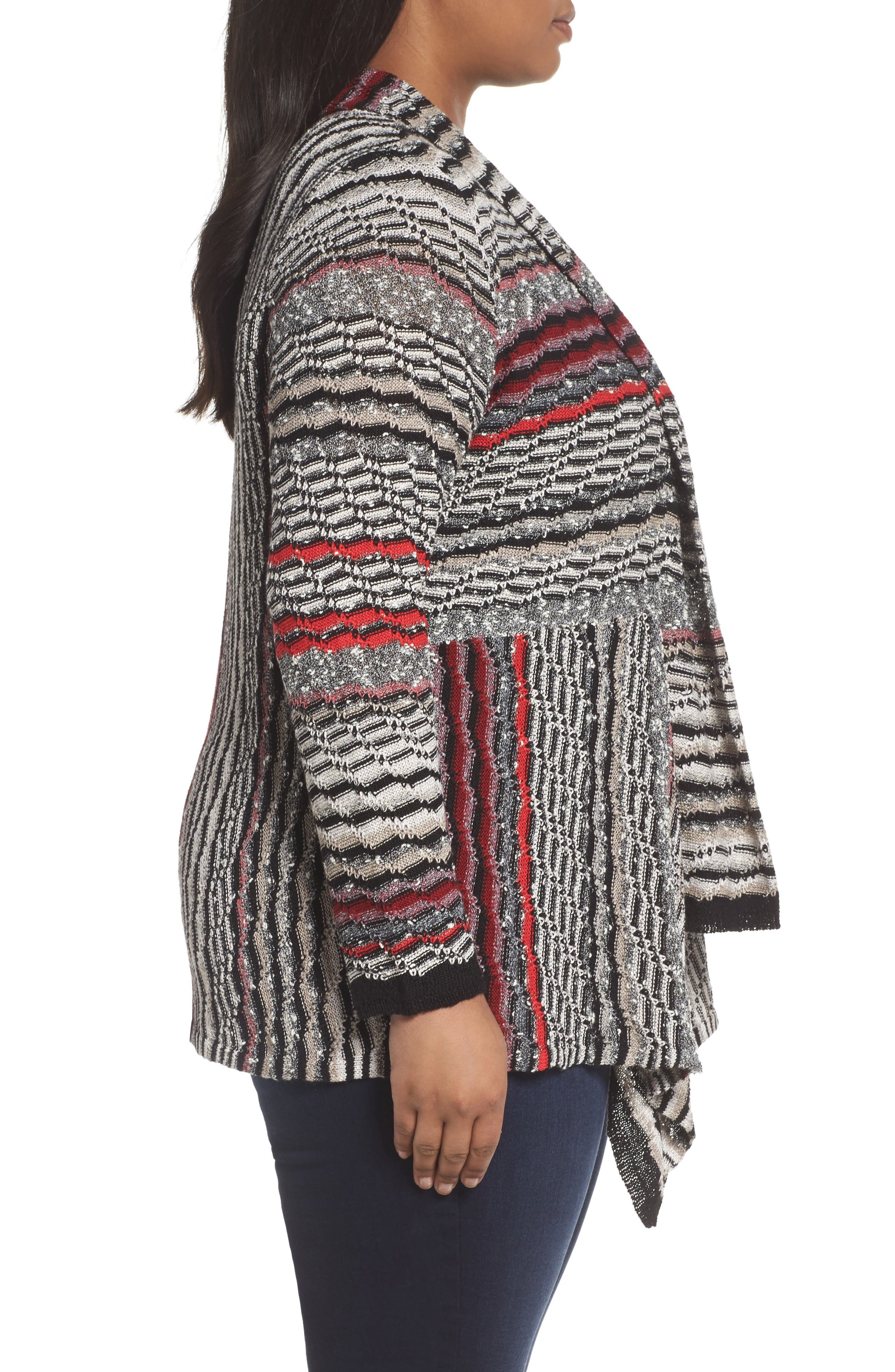 Shaded Stripes Cardigan,                             Alternate thumbnail 3, color,                             Oxide