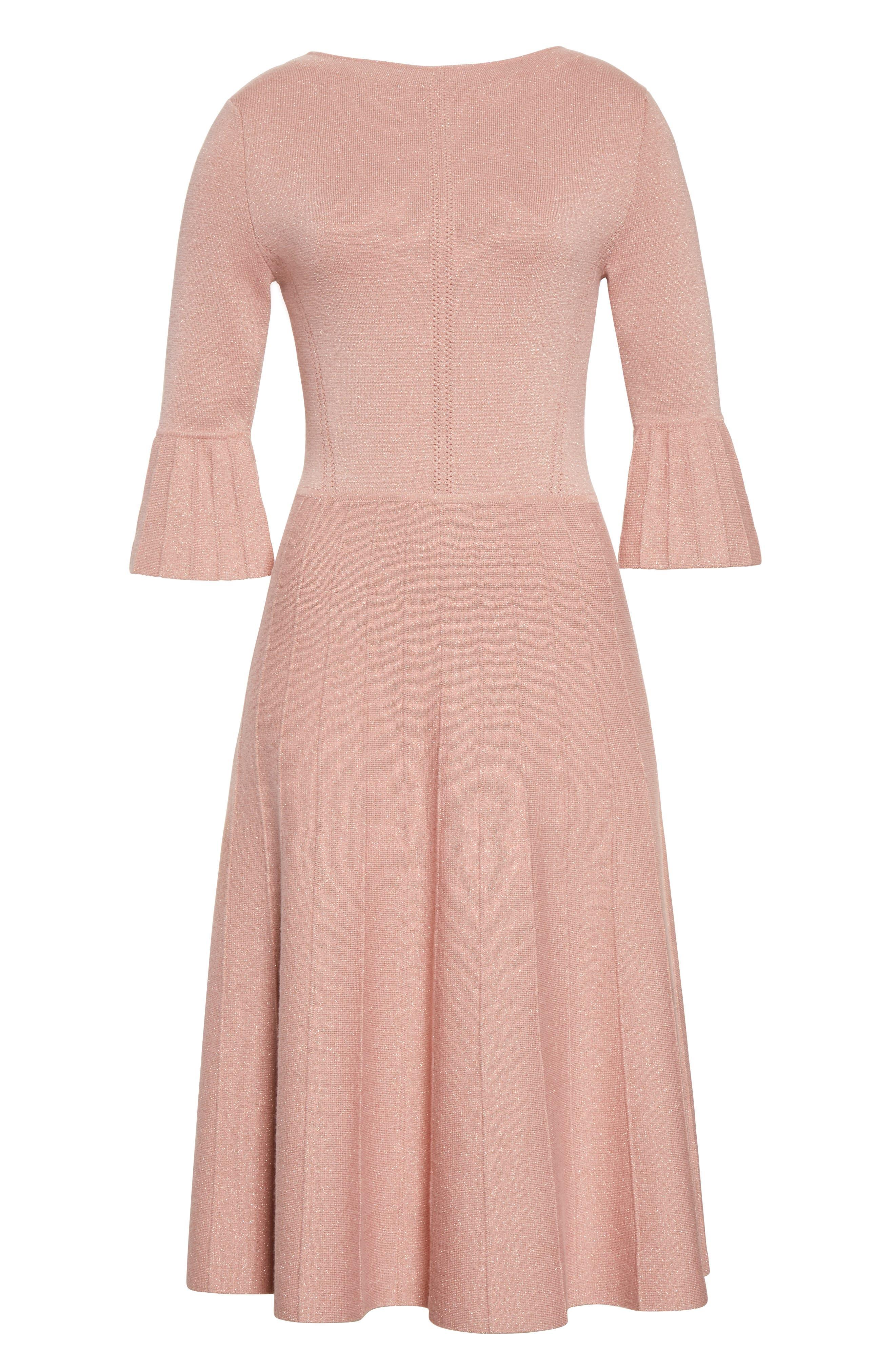 Metallic Knit Fit & Flare Dress,                             Alternate thumbnail 4, color,                             Pink
