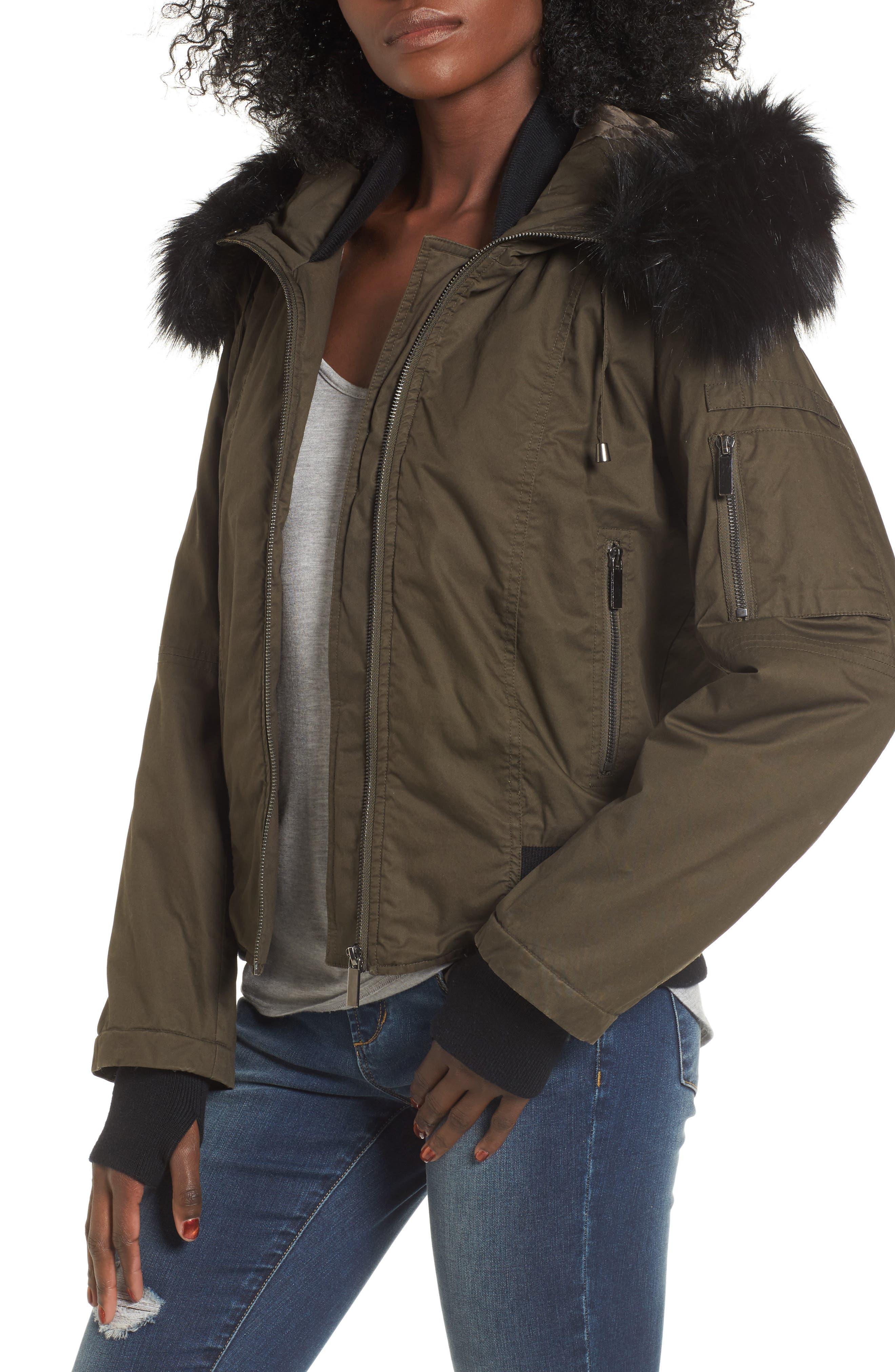 French Connection Faux Fur Trim Wax Cotton Bomber Jacket