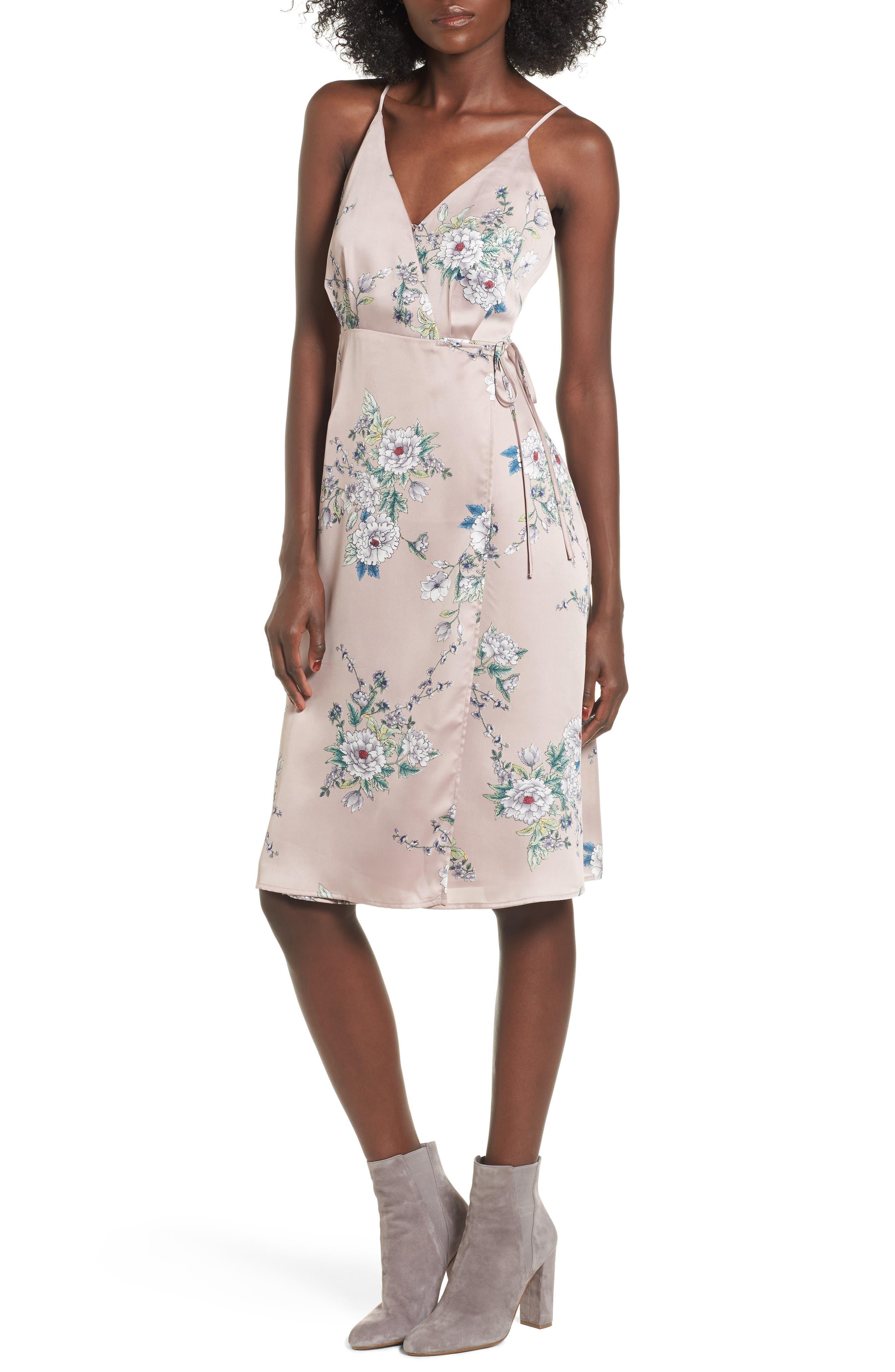 ASTR the Label Satin Wrap Dress