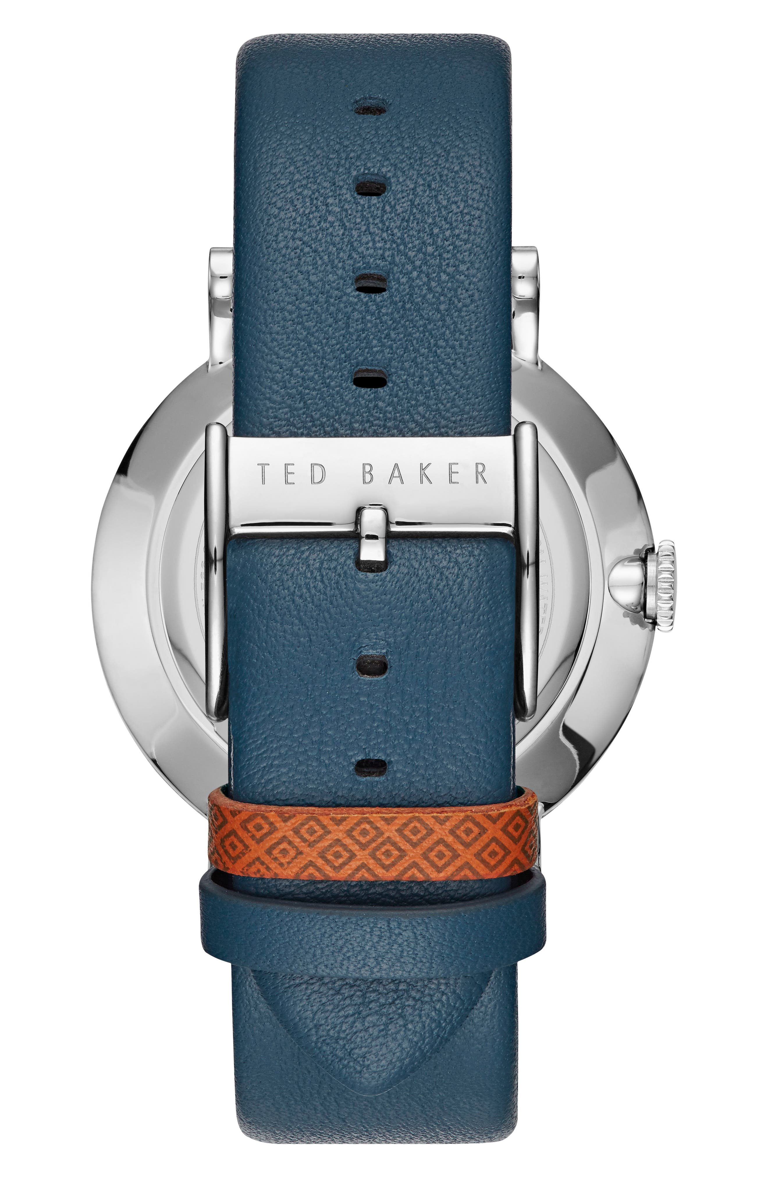 Connor Leather Strap Watch, 42mm,                             Alternate thumbnail 2, color,                             Ecru/ Navy