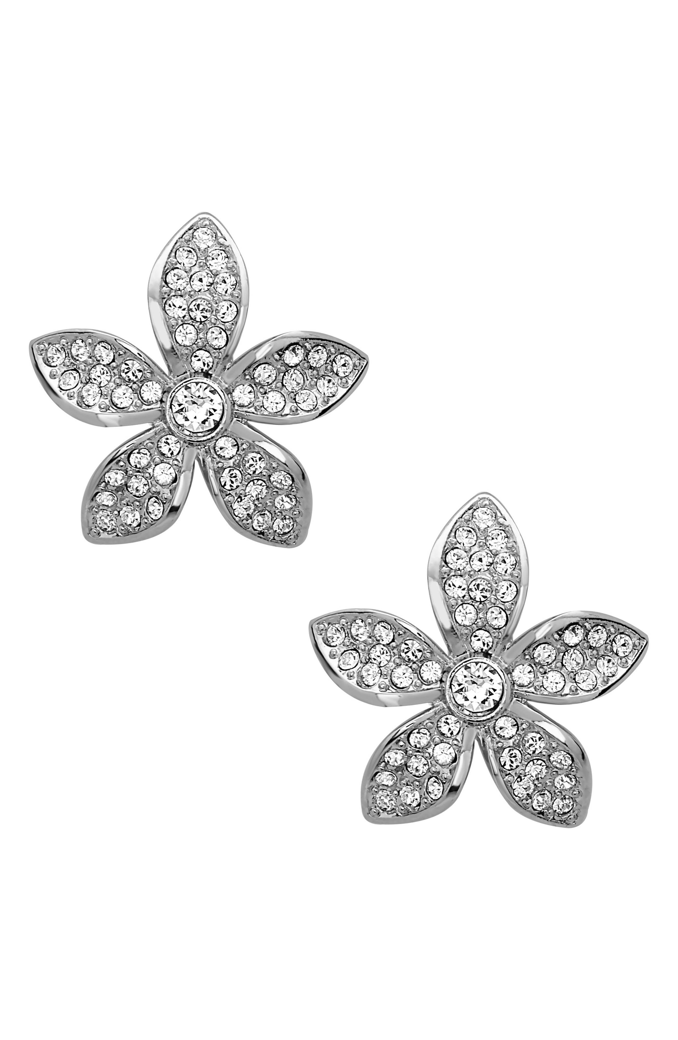 Floral Crystal Stud Earrings,                         Main,                         color, Silver