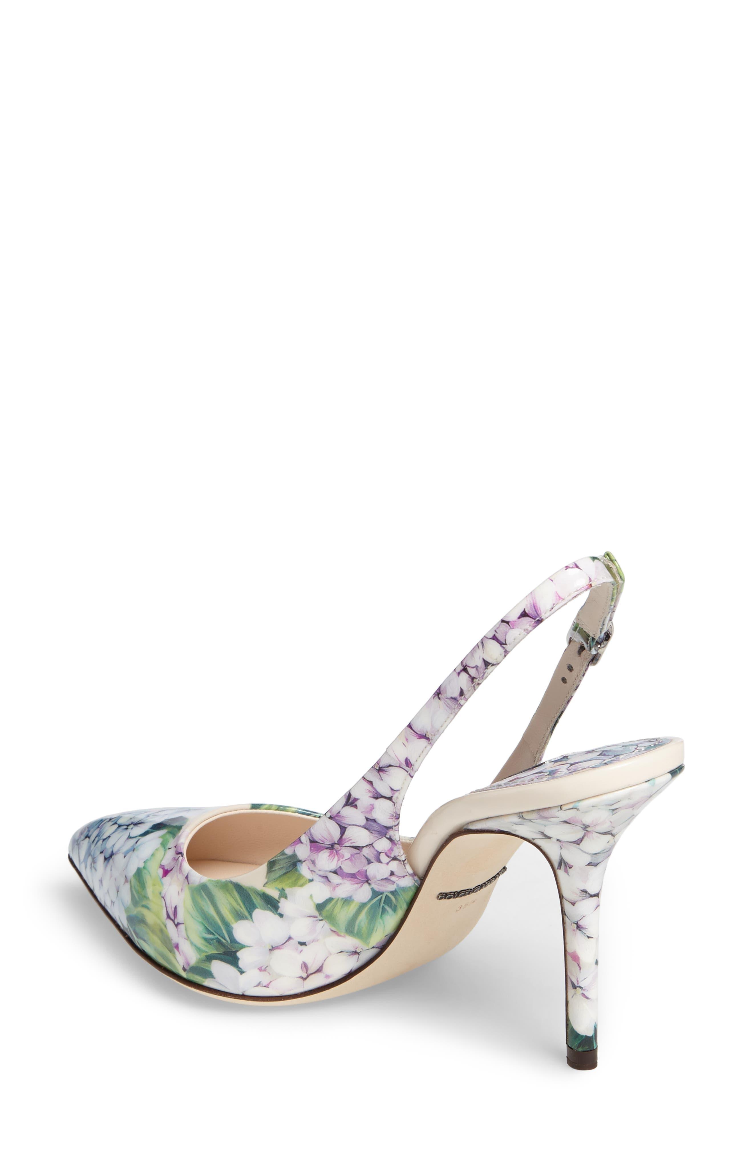 Hydrangea Slingback Sandal,                             Alternate thumbnail 2, color,                             White Floral