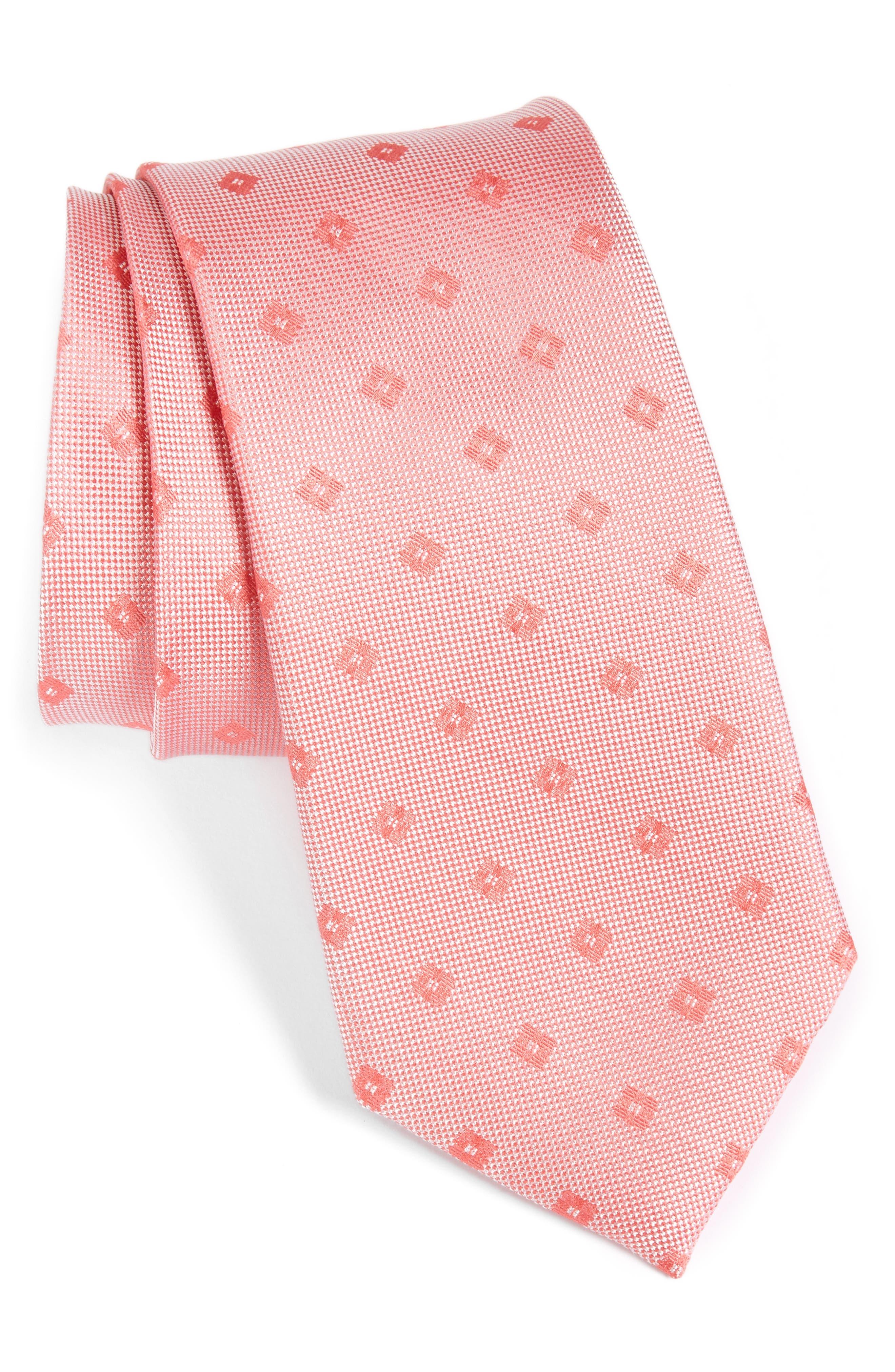 Oxford Geometric Silk Tie,                         Main,                         color, Coral
