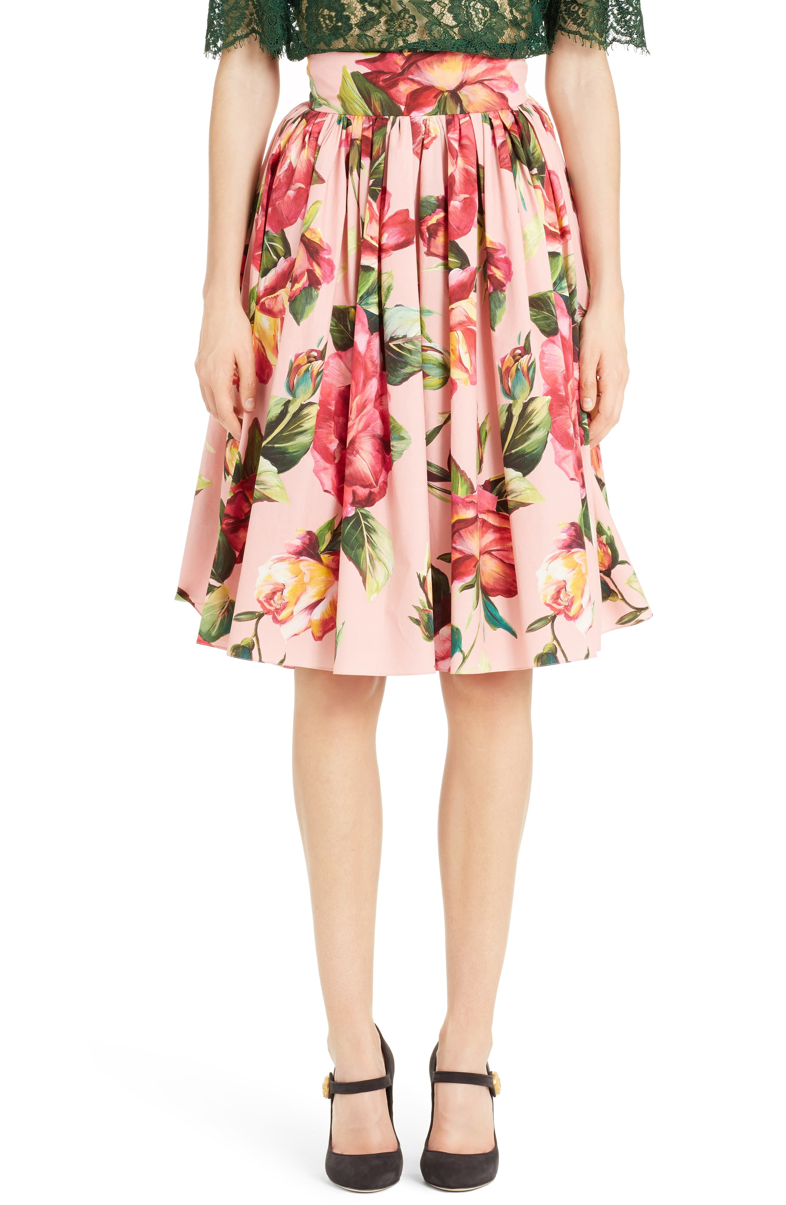 Dolce&Gabbana Rose Print Poplin Skirt