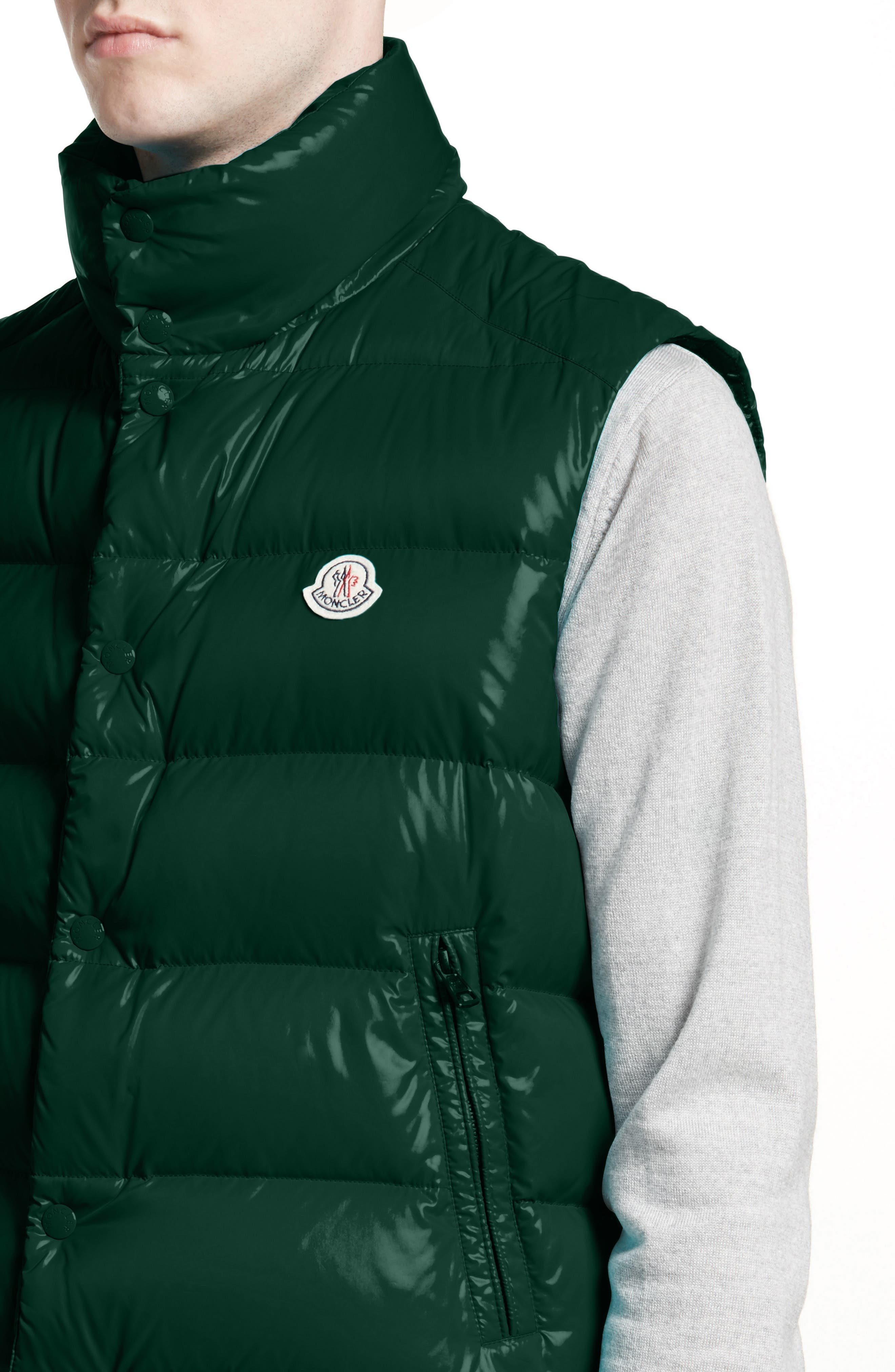 Tib Lacquered Down Vest,                             Alternate thumbnail 4, color,                             Dark Green