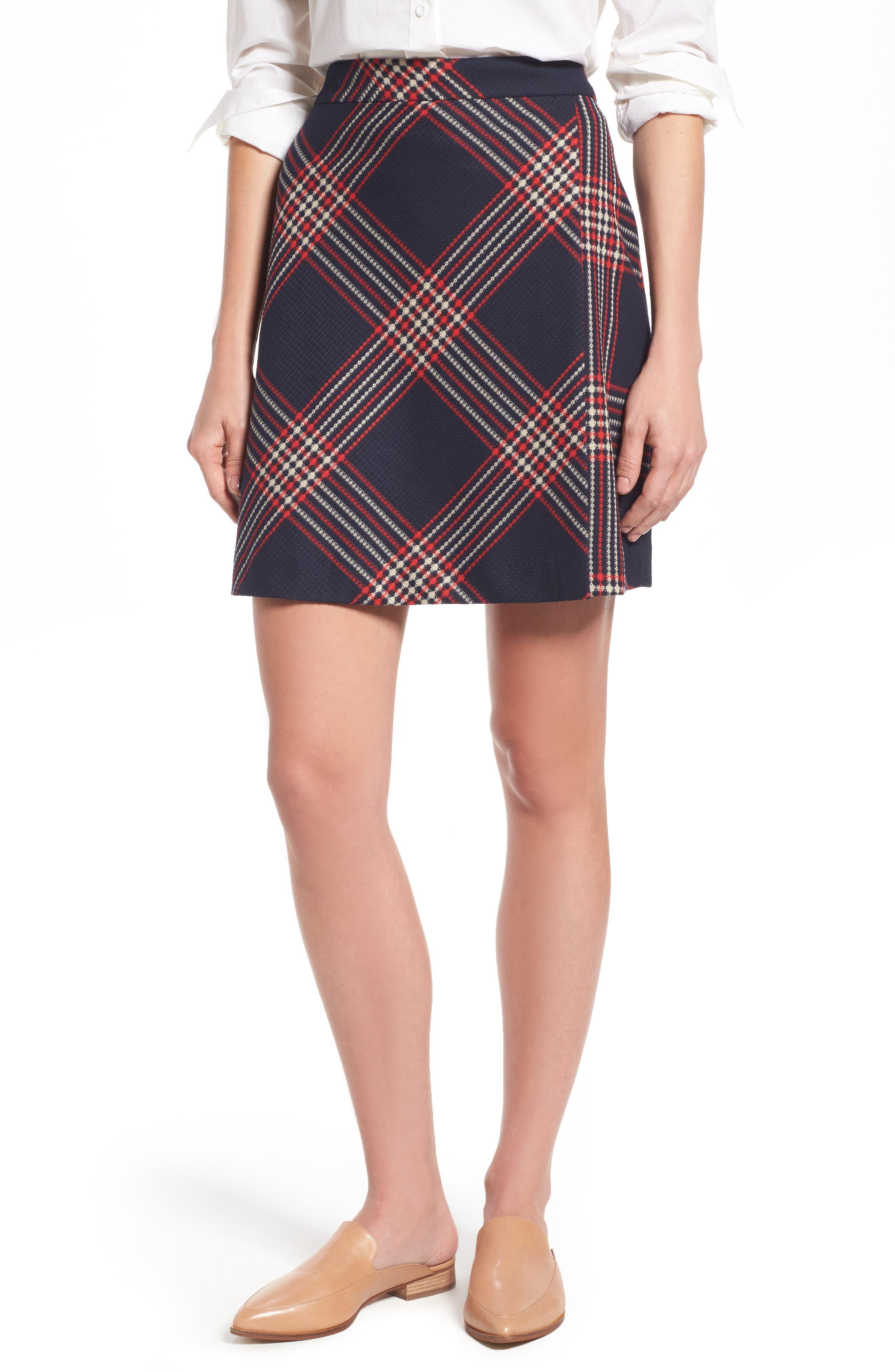 Alternate Image 1 Selected - Halogen® Plaid Miniskirt (Regular & Petite)