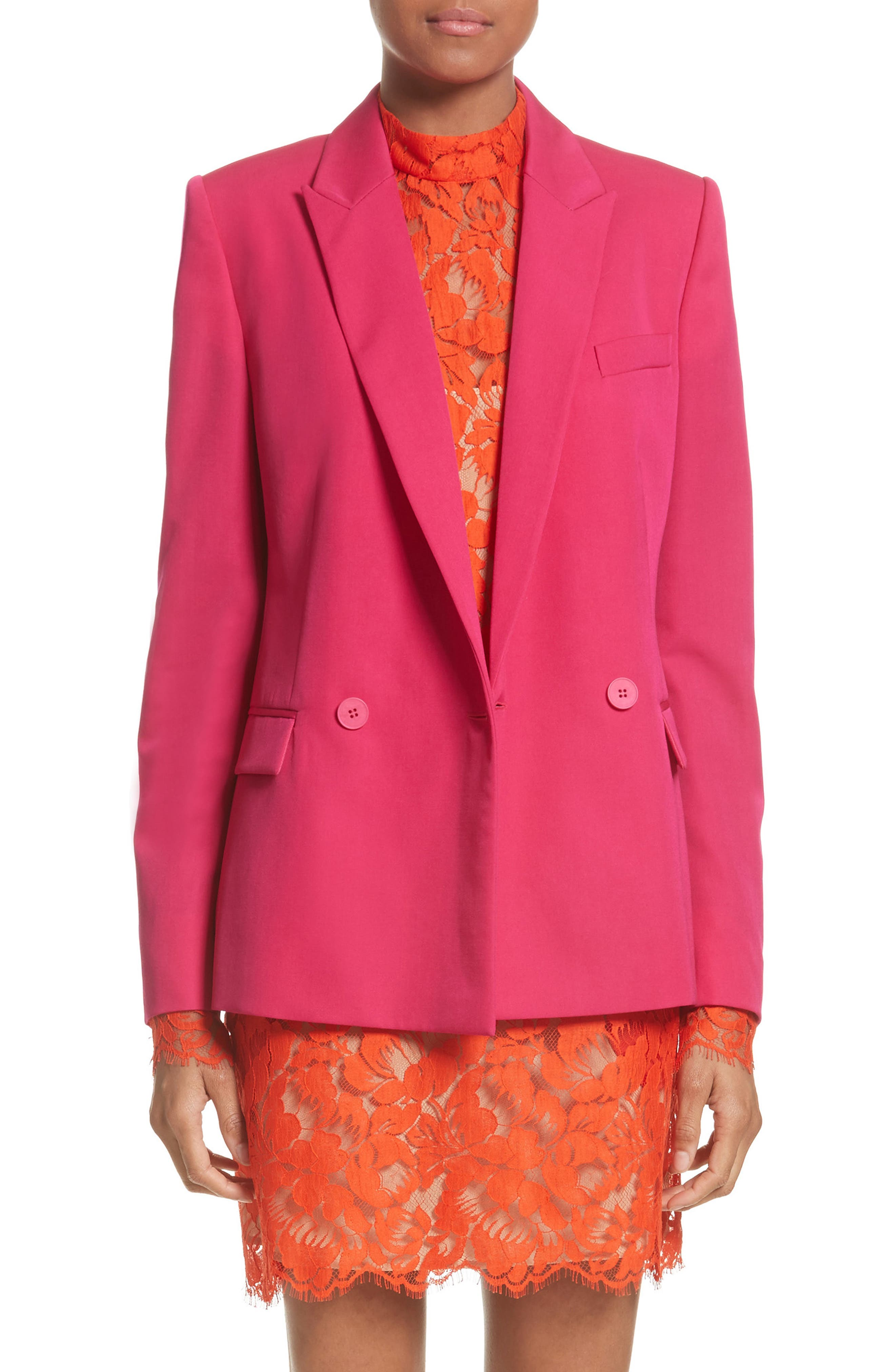 Double Breasted Blazer,                         Main,                         color, Hot Pink