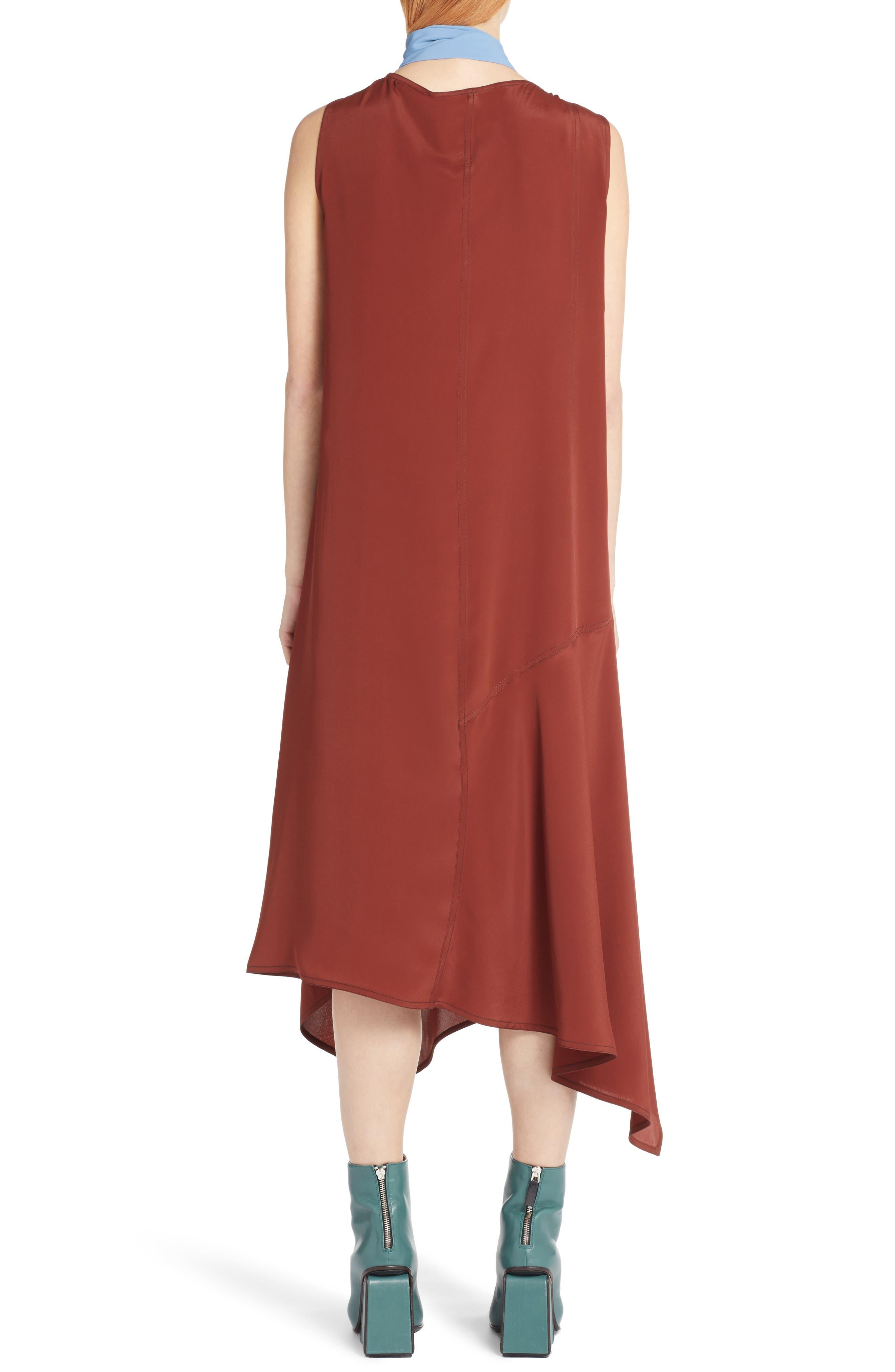 Tie Neck Side Button Dress,                             Alternate thumbnail 2, color,                             Port Red