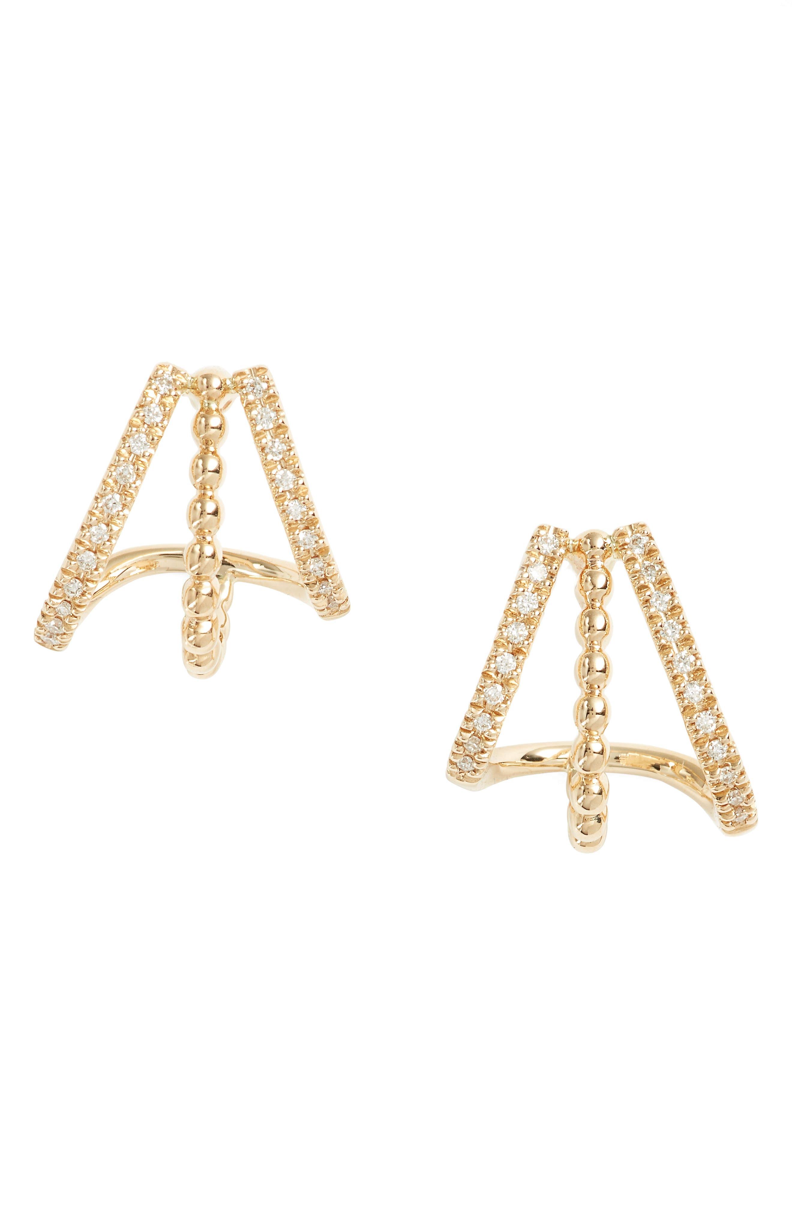 Dana Rebecca Designs Poppy Rae Diamond 3-Row Stud Earrings