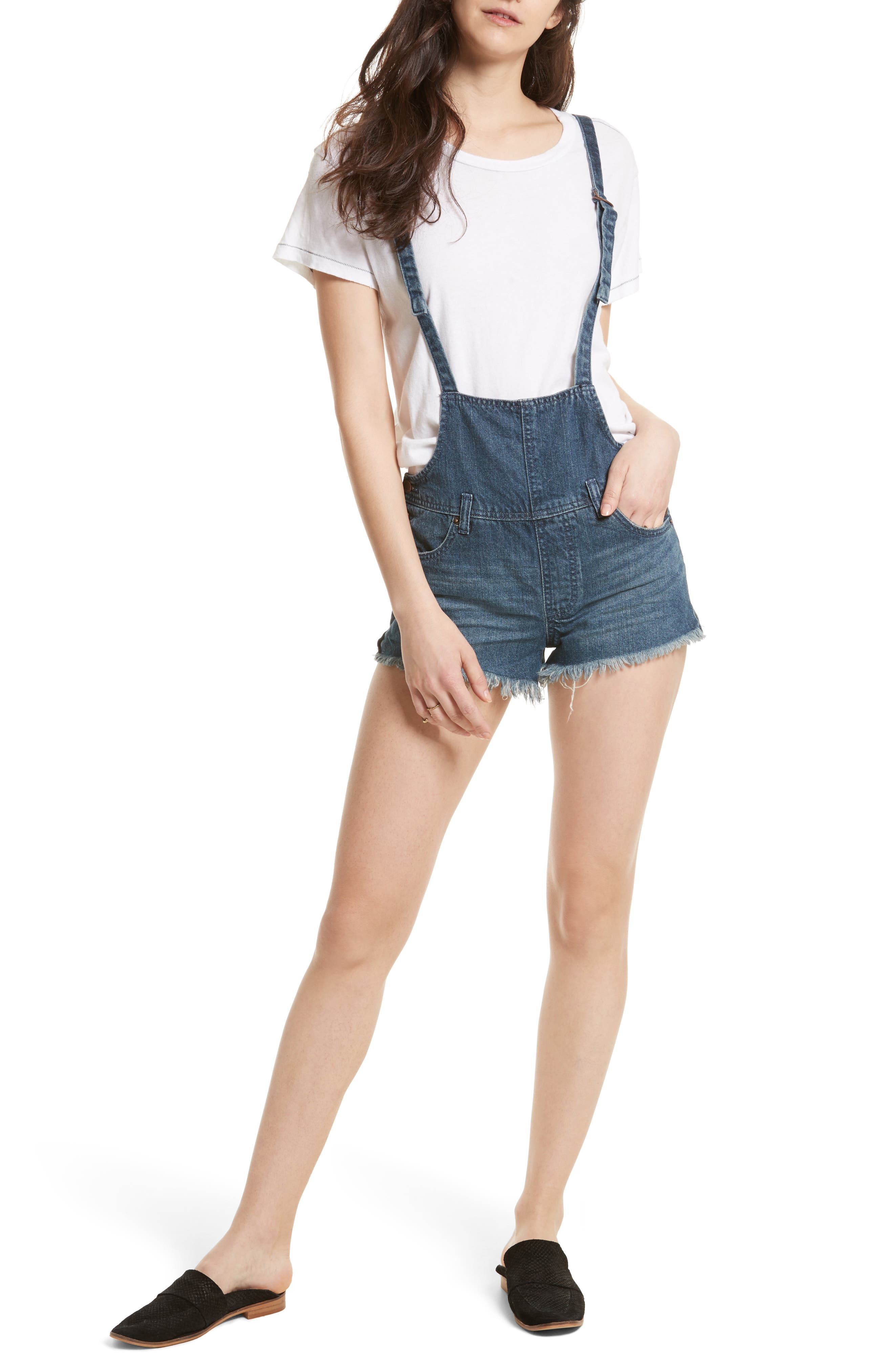 Alternate Image 1 Selected - Free People Strappy Denim Short Overalls